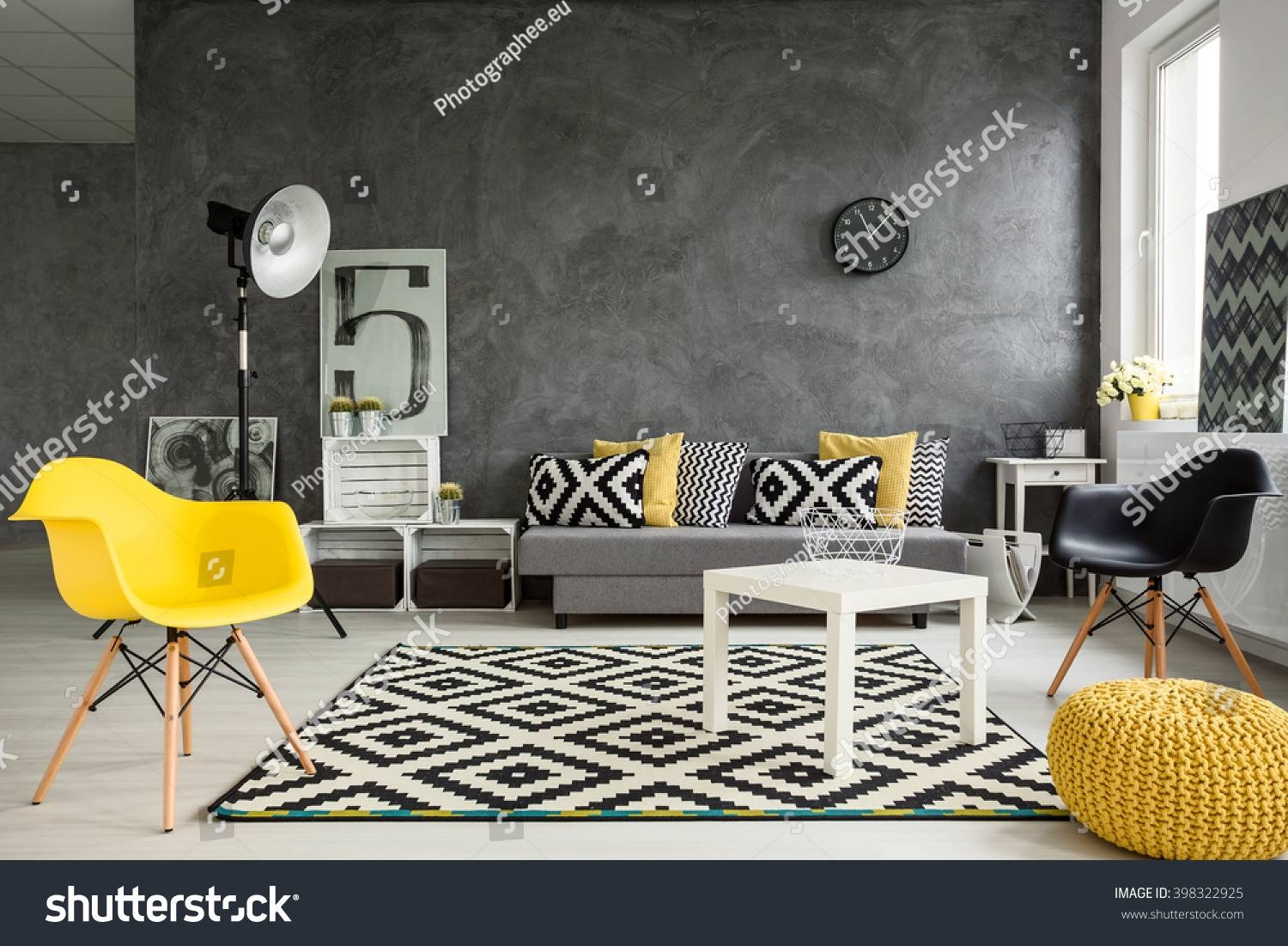 Grey Living Room Sofa Chairs Standing Stock Photo 398322925 for Yellow Sofa Chairs (Image 18 of 30)