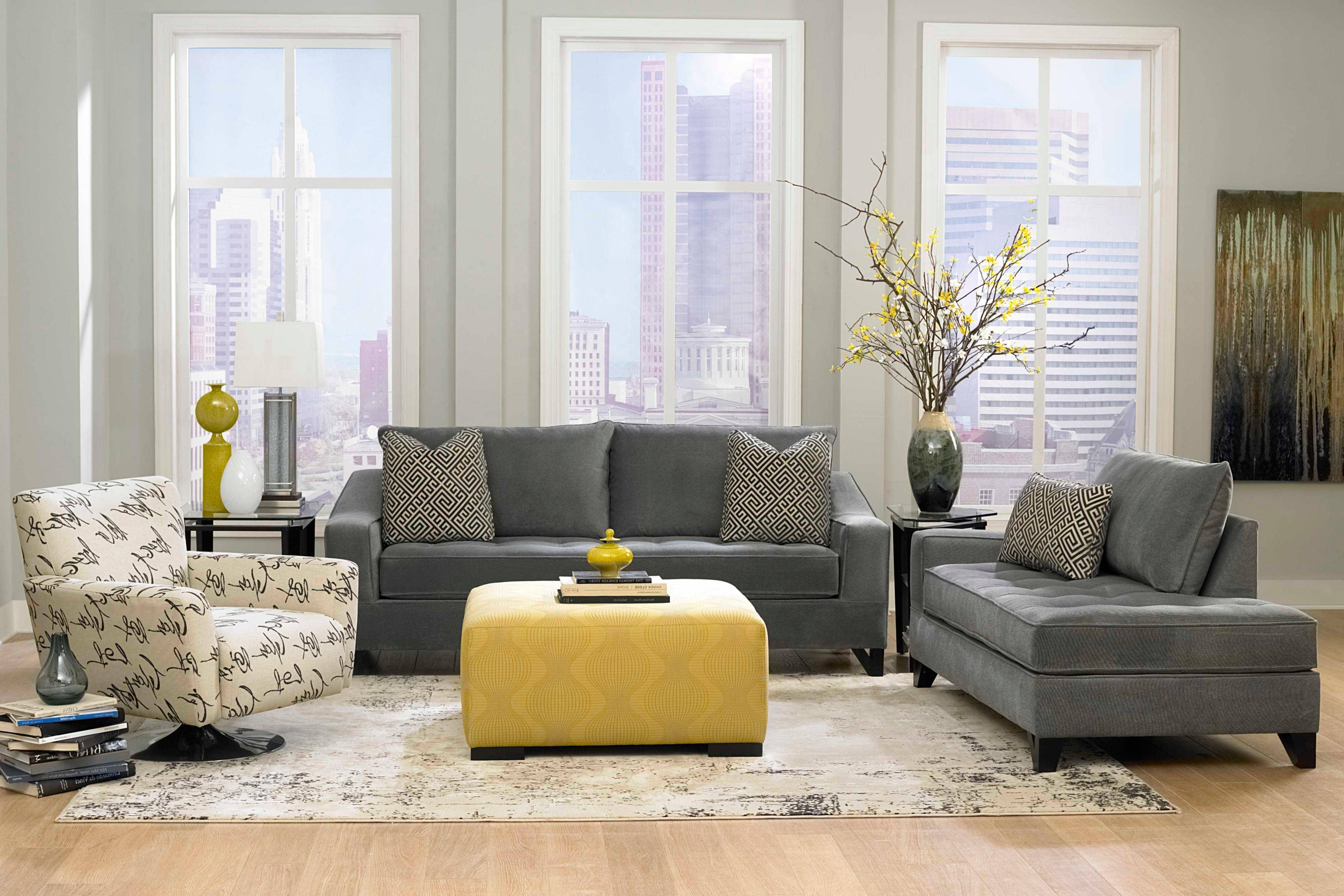 Grey Modern Living Room Brown Sofa Mural Decor Fancy Yellow regarding Yellow Sofa Chairs (Image 19 of 30)