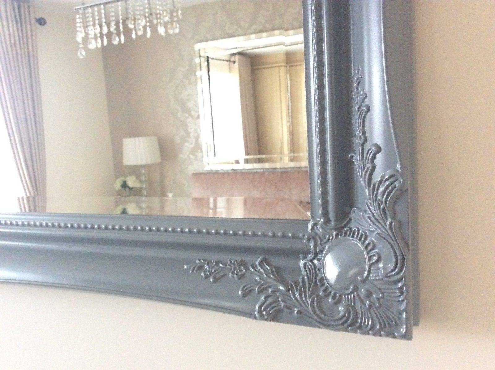 Grey Satin Shabby Chic Ornate Decorative Over Mantle Gilt Wall Mirror inside Shabby Chic Large Mirrors (Image 7 of 25)