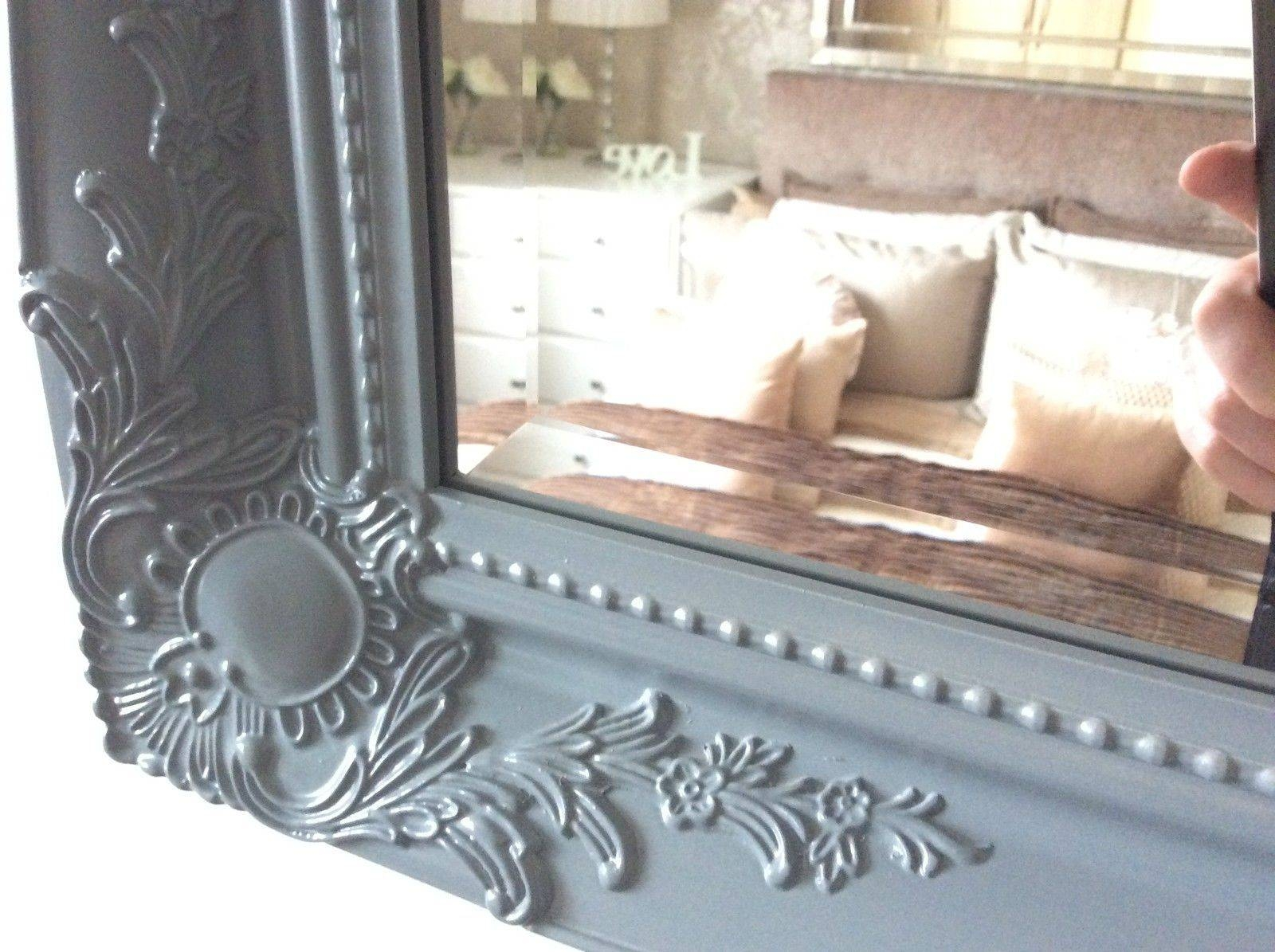 Grey Satin Shabby Chic Ornate Decorative Over Mantle Gilt Wall Mirror with Shabby Chic Large Mirrors (Image 8 of 25)