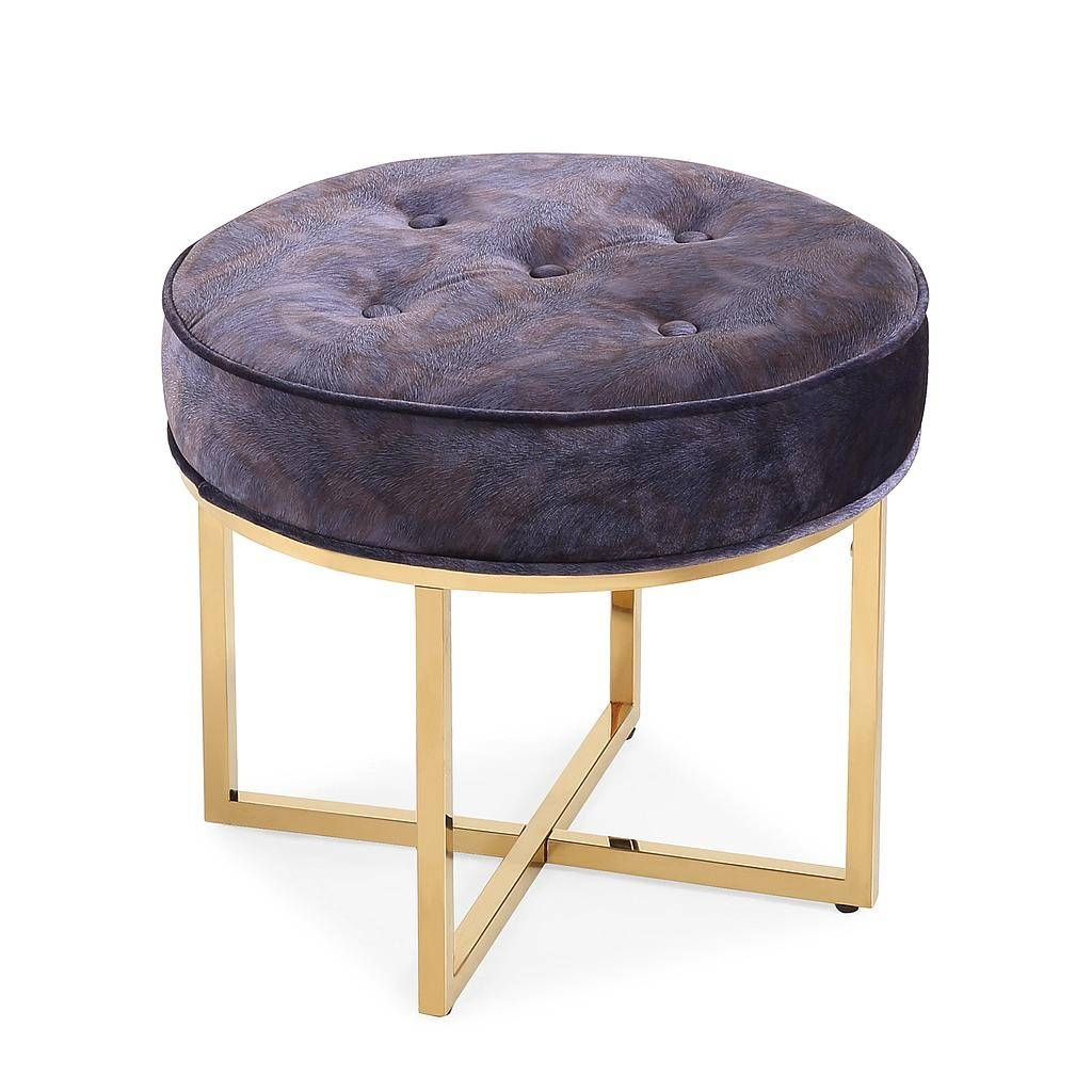Grey Velvet Footstool Ottoman In Gold Metal Base with regard to Velvet Footstool (Image 22 of 30)