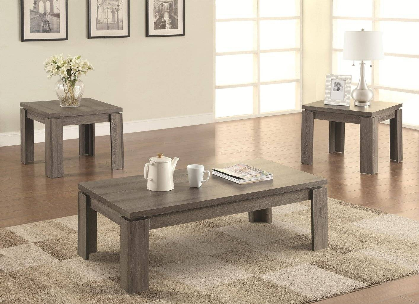 Grey Wood Coffee Table Set - Steal-A-Sofa Furniture Outlet Los for Chunky Wood Coffee Tables (Image 13 of 30)
