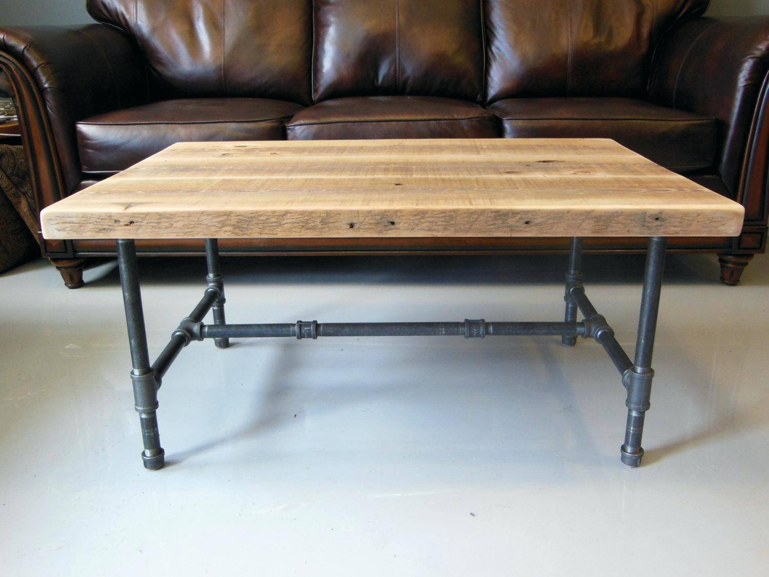 Griffin Reclaimed Wood Wrought Iron Coffee Table | Coffee Tables in Griffin Coffee Tables (Image 20 of 30)