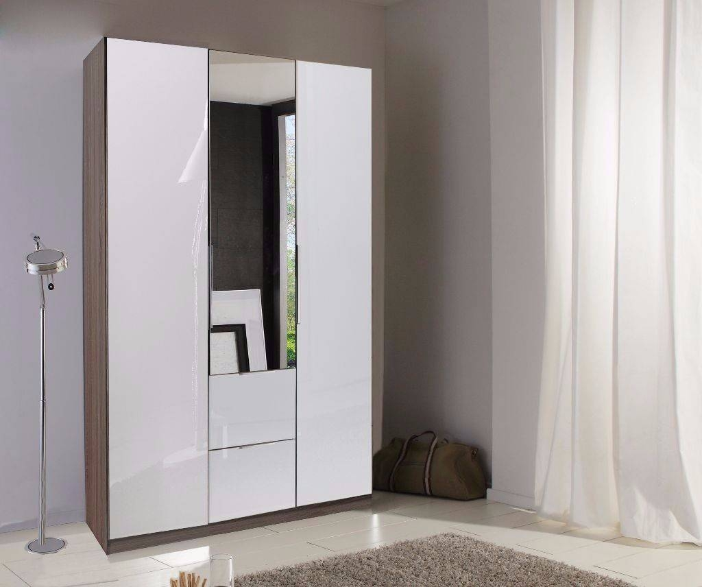 Guaranteed Real German Wardrobe- High Gloss 3 Door White Wardrobe with Double Wardrobe With Drawers and Shelves (Image 19 of 30)