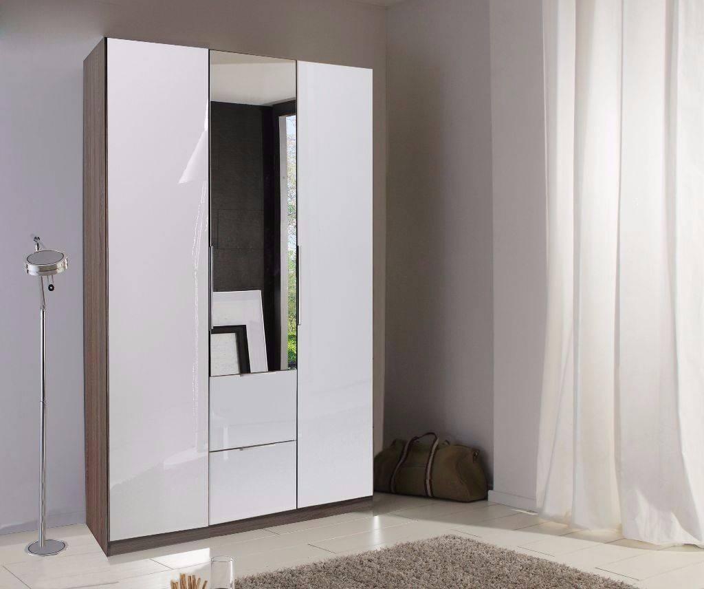 Guaranteed Real German Wardrobe- High Gloss 3 Door White Wardrobe with regard to Wardrobe With Drawers and Shelves (Image 15 of 30)