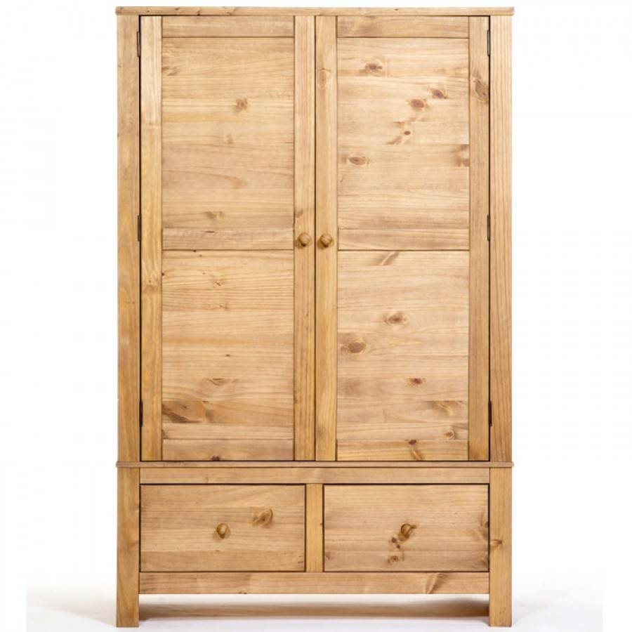Hacienda Waxed Pine Wide Double Wardrobe With 2 Drawers | Charlies in Pine Double Wardrobes (Image 9 of 15)