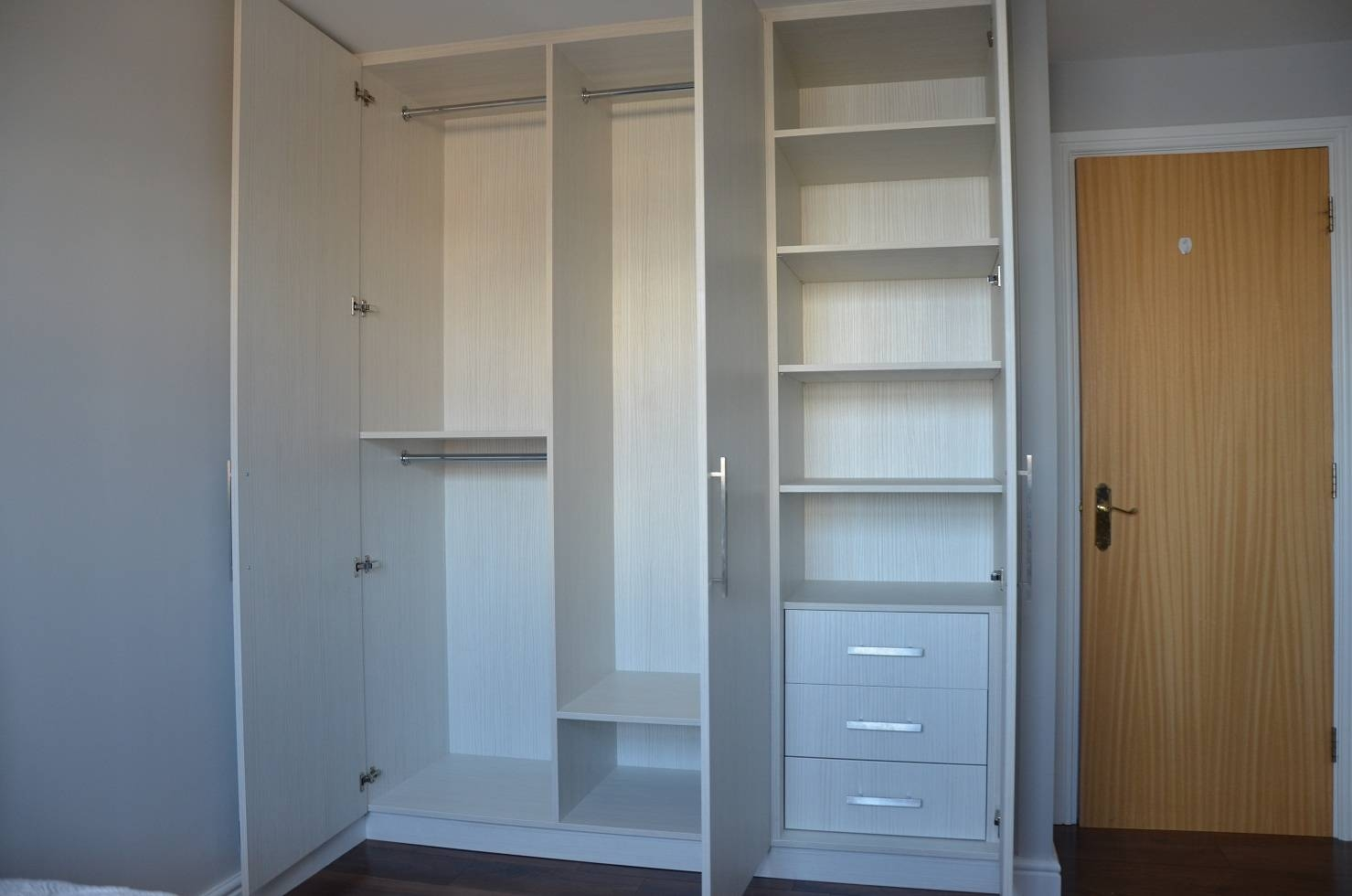 Hacienda White 3 Doors, Canary Wharf E14 pertaining to 3 Door Wardrobe With Drawers and Shelves (Image 14 of 30)