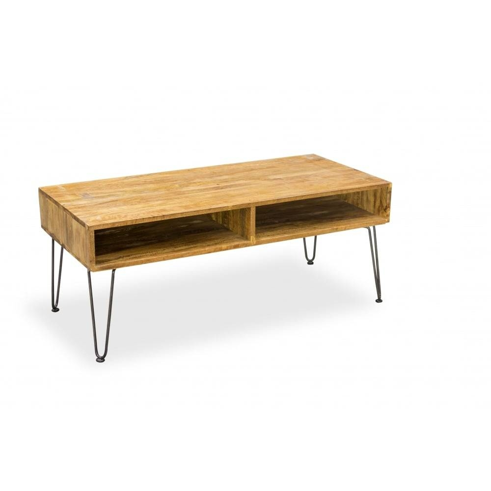 Hairpin Retro Coffee Table Solid Mango Wood | Cult Furniture Uk| inside Mango Wood Coffee Tables (Image 10 of 30)