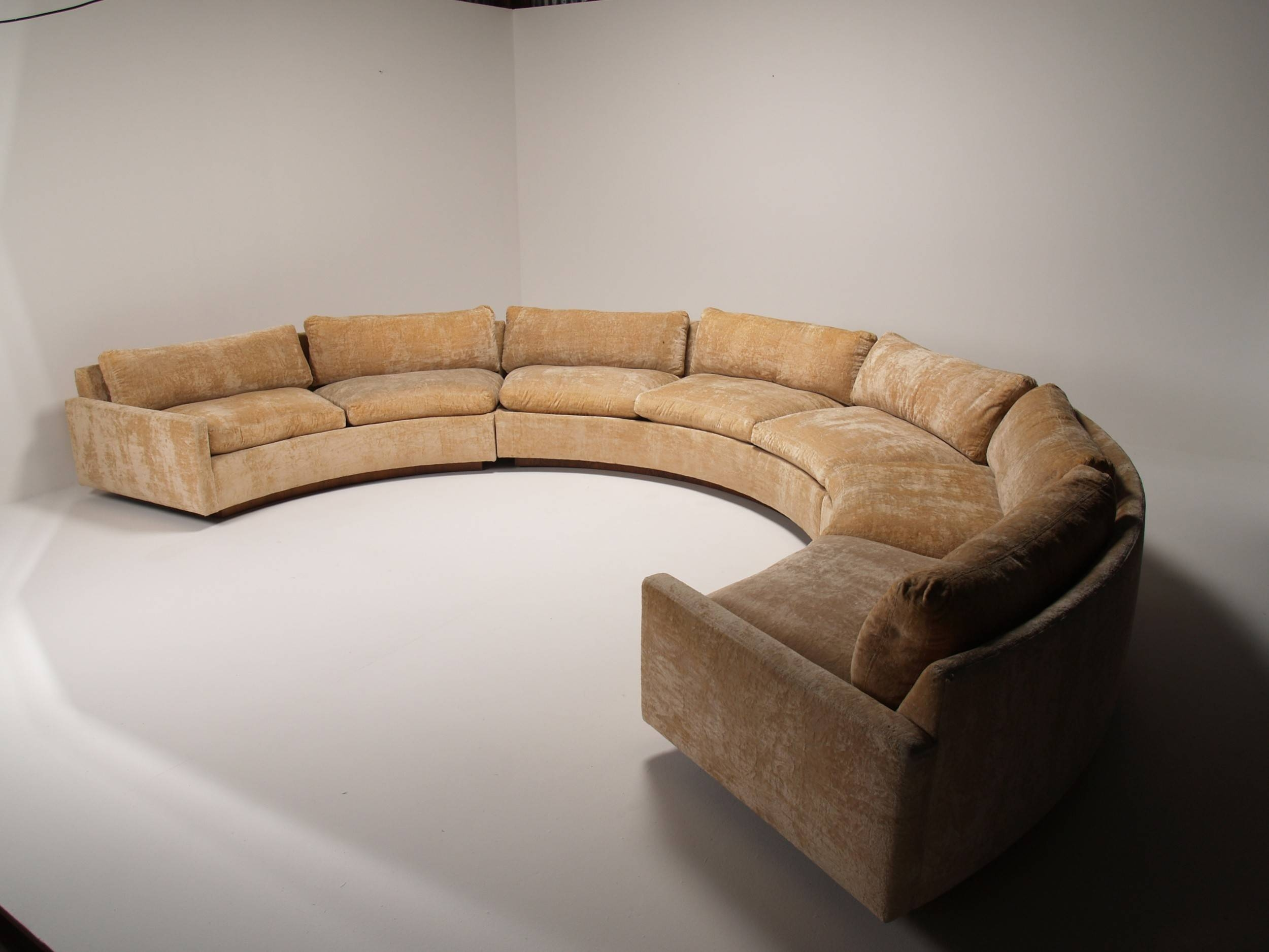 Half Round Light Brown Velvet Sofa With Cushions And Arm Rest for Oval Sofas (Image 12 of 30)