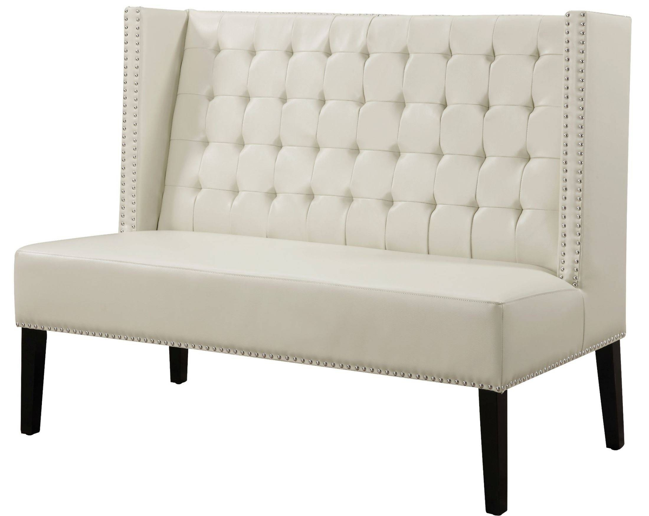 Halifax Cream Leather Banquette Bench From Tov (63115-Cream with Leather Bench Sofas (Image 11 of 30)