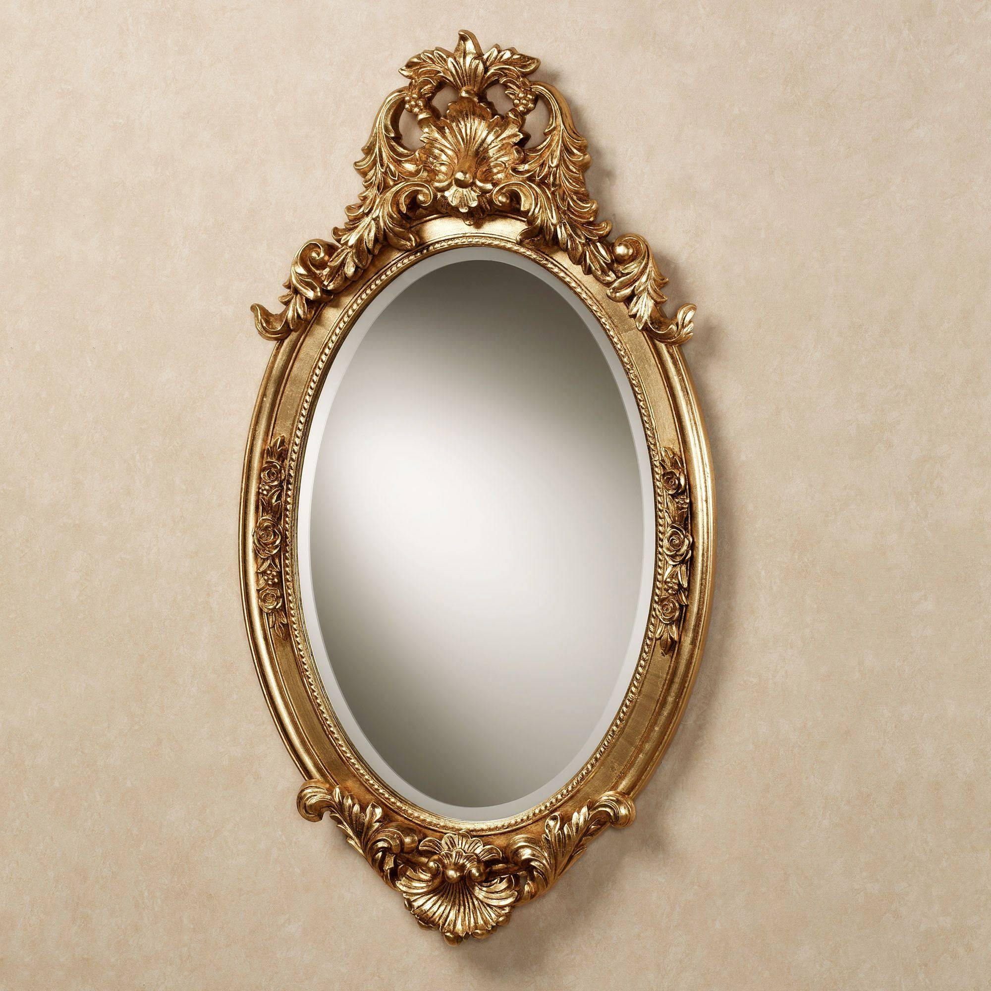 Hallandale Acanthus Leaf Oval Wall Mirror with Antique Gold Mirrors (Image 16 of 25)