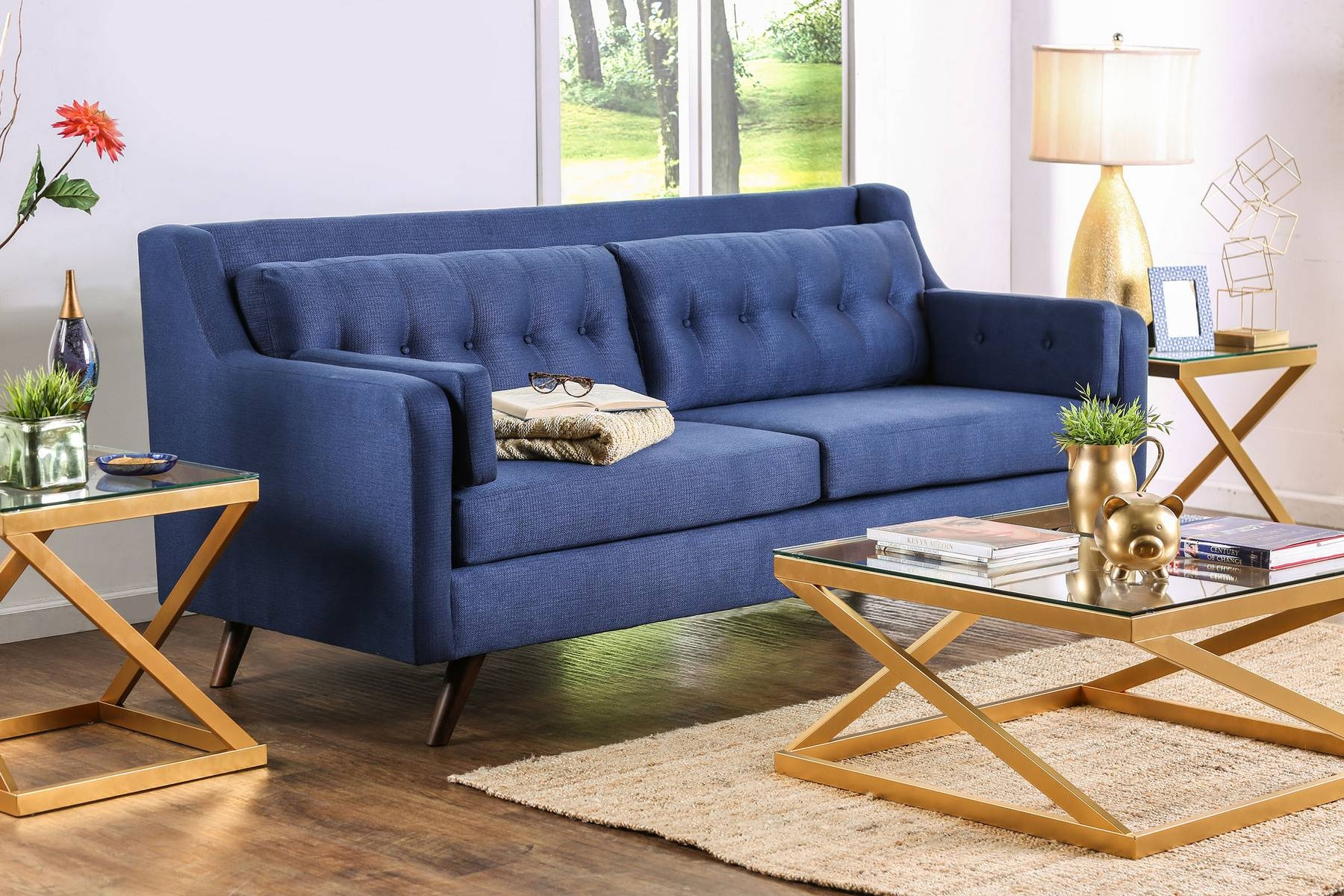 Hallie Blue Sofa Sm8822-Sf Furniture Of America Fabric Sofas At pertaining to Fabric Sofas (Image 17 of 30)