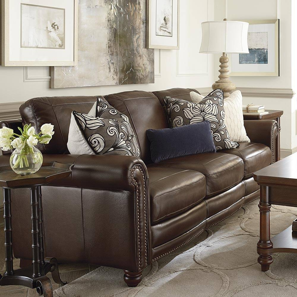 Hamilton Sofa - Leather | Living Room | Bassett Furniture regarding Bassett Sofa Bed (Image 10 of 30)