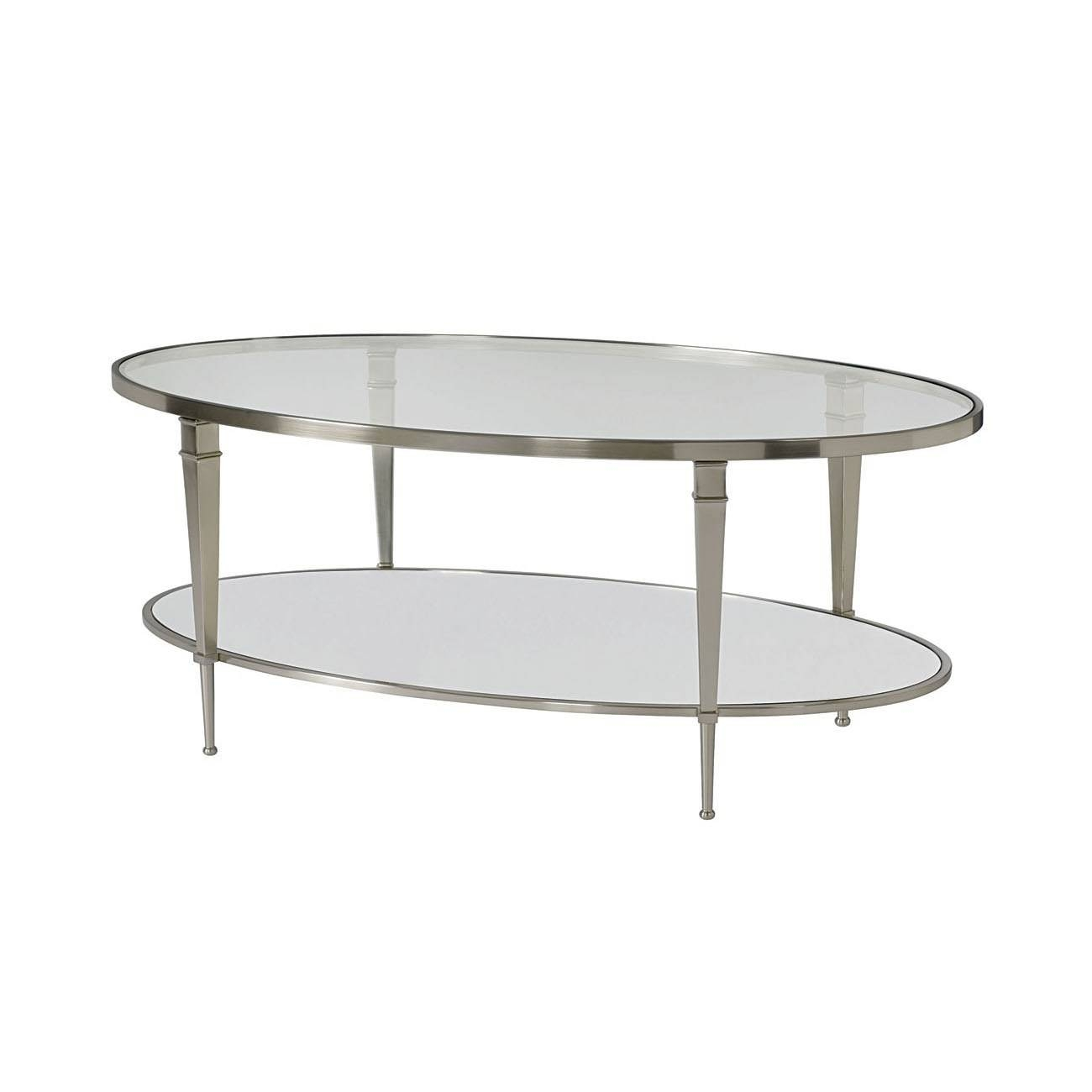 Hammary 173-912 Mallory Oval Cocktail Table In Satin Nickel throughout Oval Mirrored Coffee Tables (Image 14 of 30)