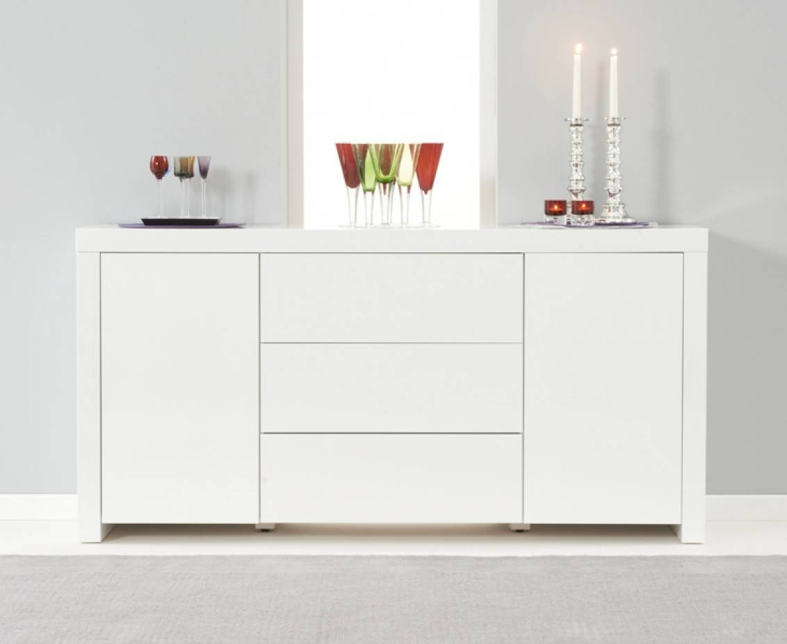 Hampstead 2 Door 3 Drawer White High Gloss Sideboard | The Great with Gloss White Sideboards (Image 14 of 30)