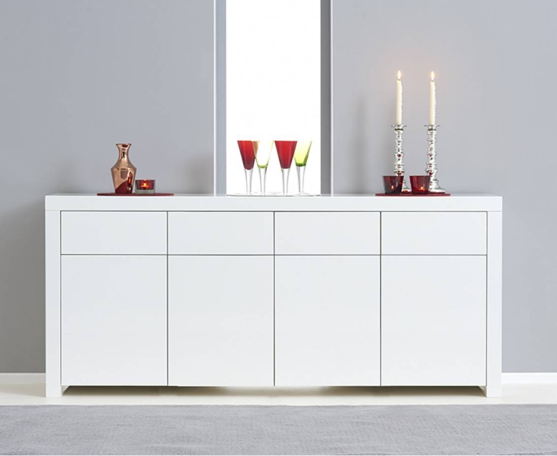 Hampstead 4 Door 4 Drawer White High Gloss Sideboard | The Great regarding White High Gloss Sideboards (Image 15 of 30)