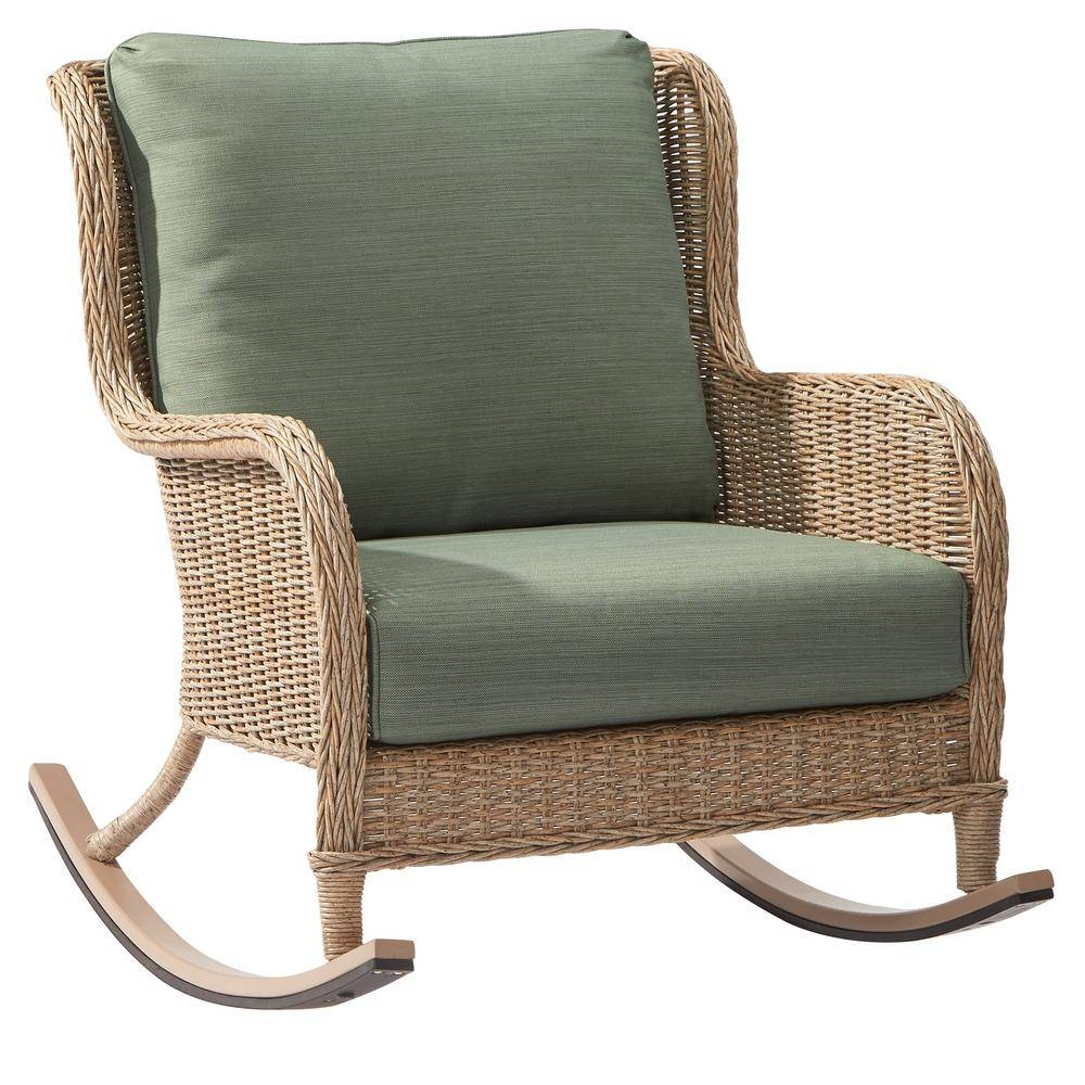 Hampton Bay Lemon Grove Wicker Outdoor Rocking Chair With Surplus throughout Rocking Sofa Chairs (Image 12 of 30)