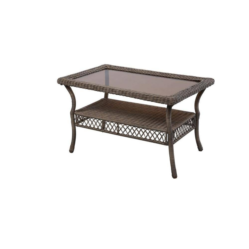 Hampton Bay Spring Haven Grey Patio Coffee Table-65-20305 - The with regard to Grey Coffee Tables (Image 19 of 30)