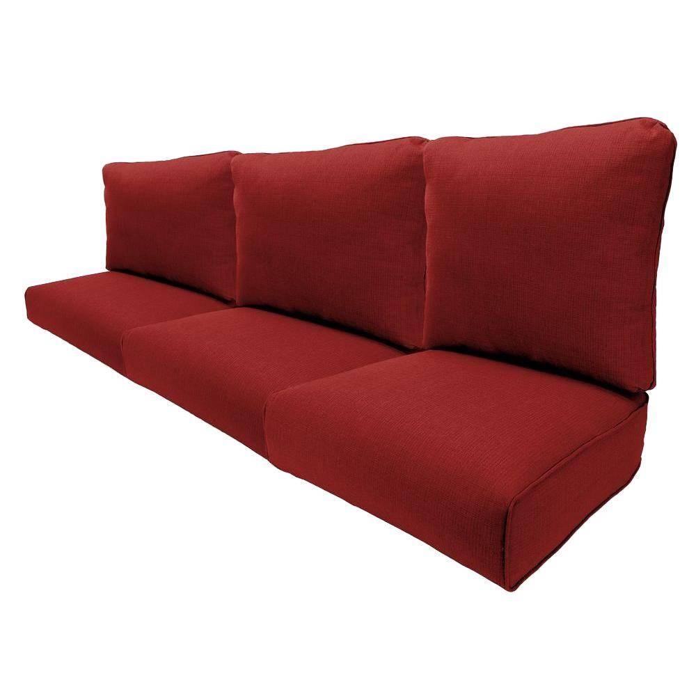 Hampton Bay Woodbury Chili Replacement Outdoor Sofa Cushion With Regard To Sofa Cushions (View 18 of 30)