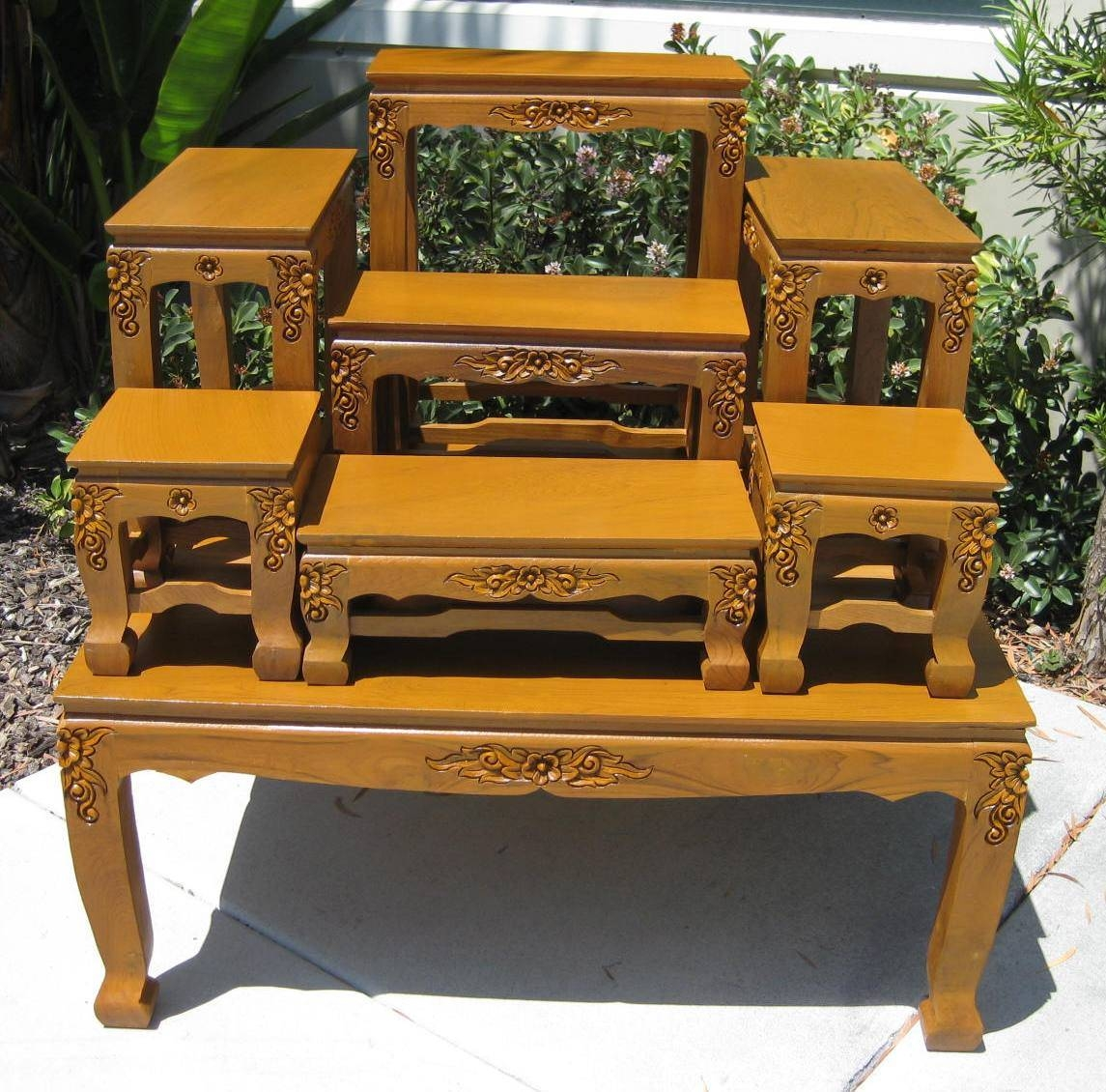Hand Carved Coffee Tables, Opium Legs Tables, End Tables, Buddhist  Regarding Buddha Coffee