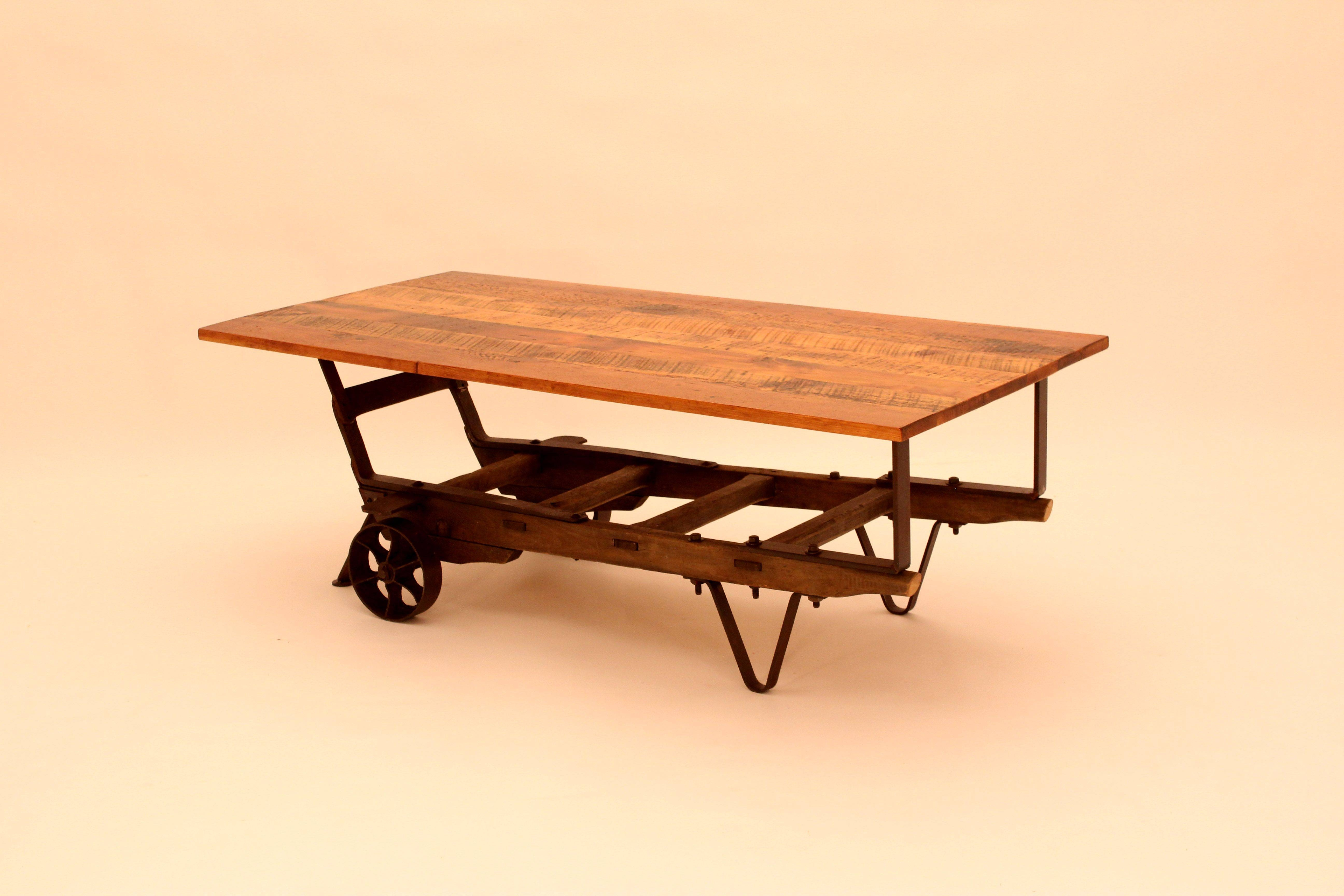Hand Crafted Ct-37 Hand Truck Base W/antique Pine Top Coffee Table in Antique Pine Coffee Tables (Image 18 of 30)