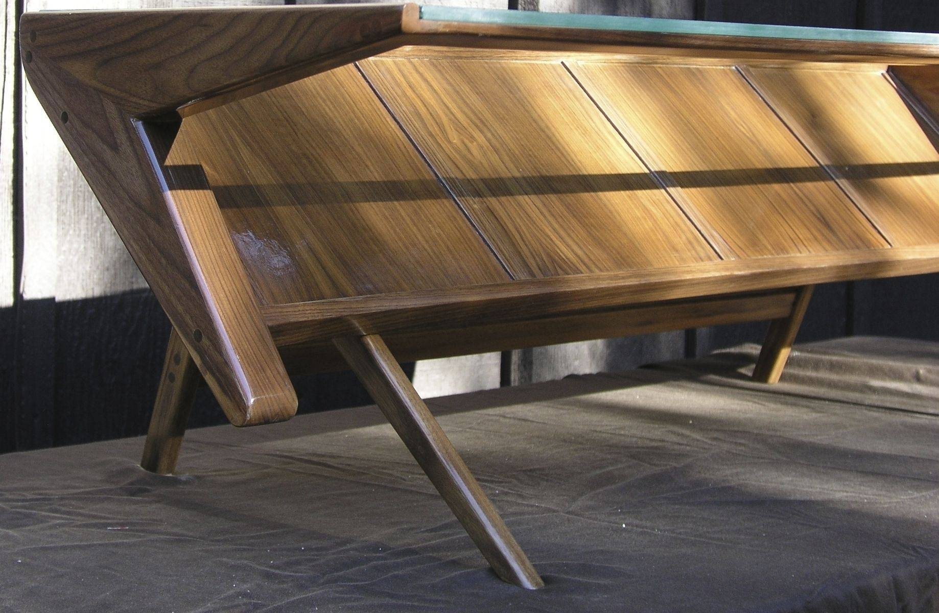 Hand Crafted Mid Century Modern Coffee Table With Glass Top, Solid in Wood Modern Coffee Tables (Image 16 of 30)