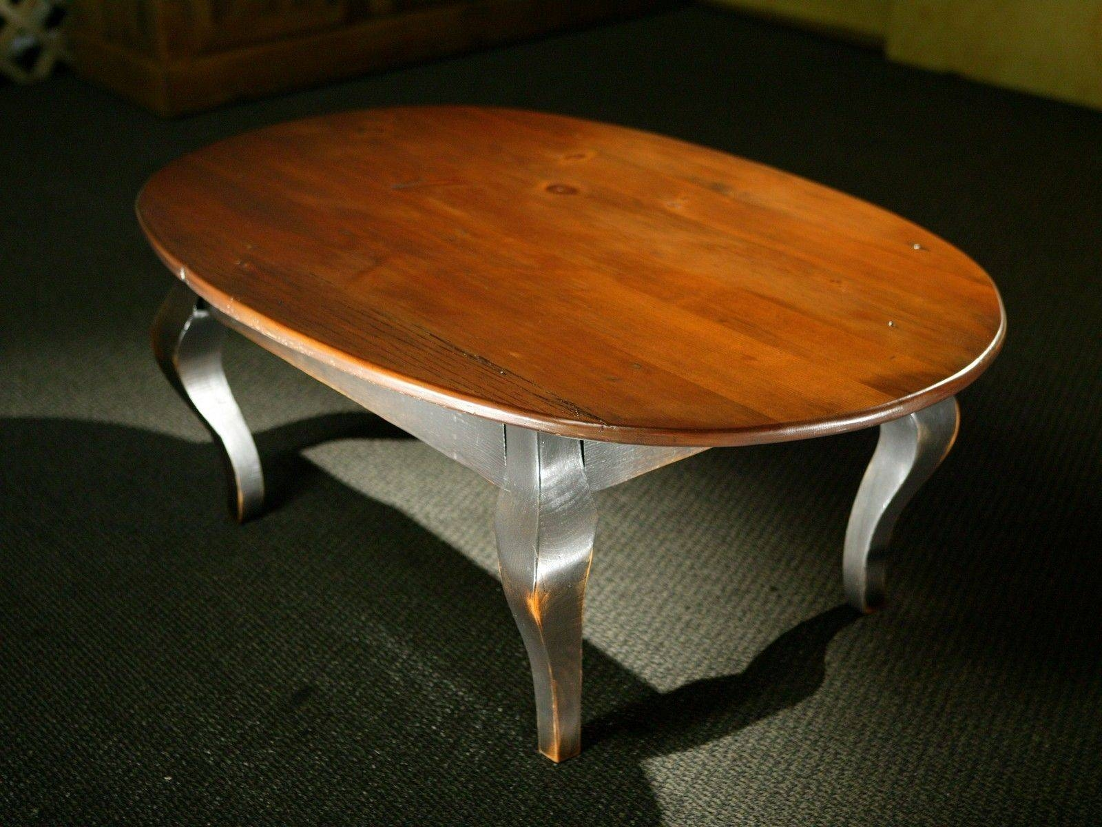 Hand Crafted Oval Wood Coffee Table With Black French Legs for Oval Wooden Coffee Tables (Image 23 of 30)