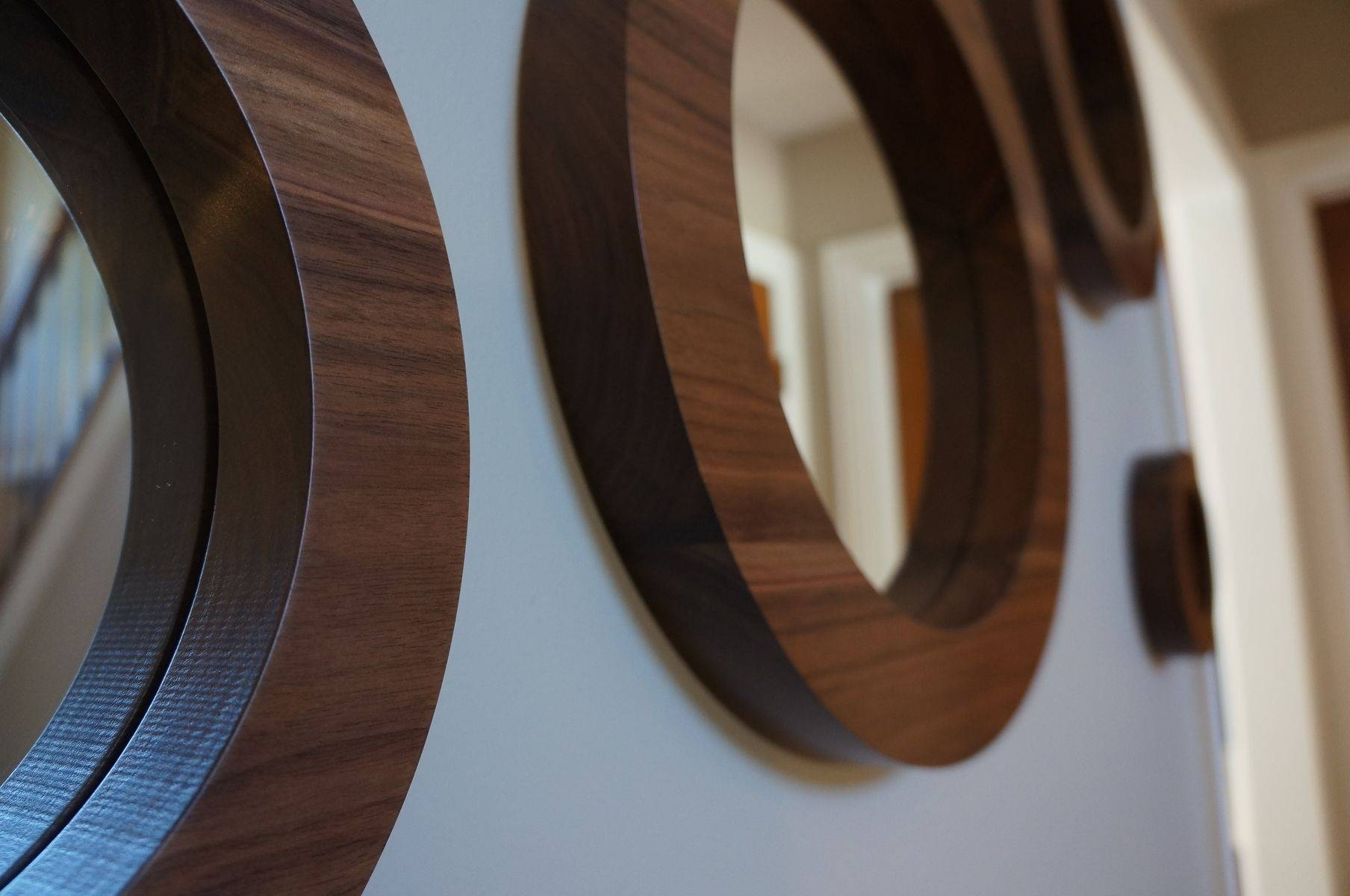 Hand Crafted Round Wall Mirrors- Solid Walnut Set Of 6 Porthole for Porthole Wall Mirrors (Image 12 of 25)
