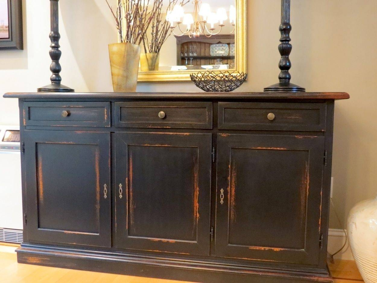 Hand Made Black Barn Wood Buffet With Distressed Multi Color Rub inside Distressed Wood Sideboards (Image 15 of 30)