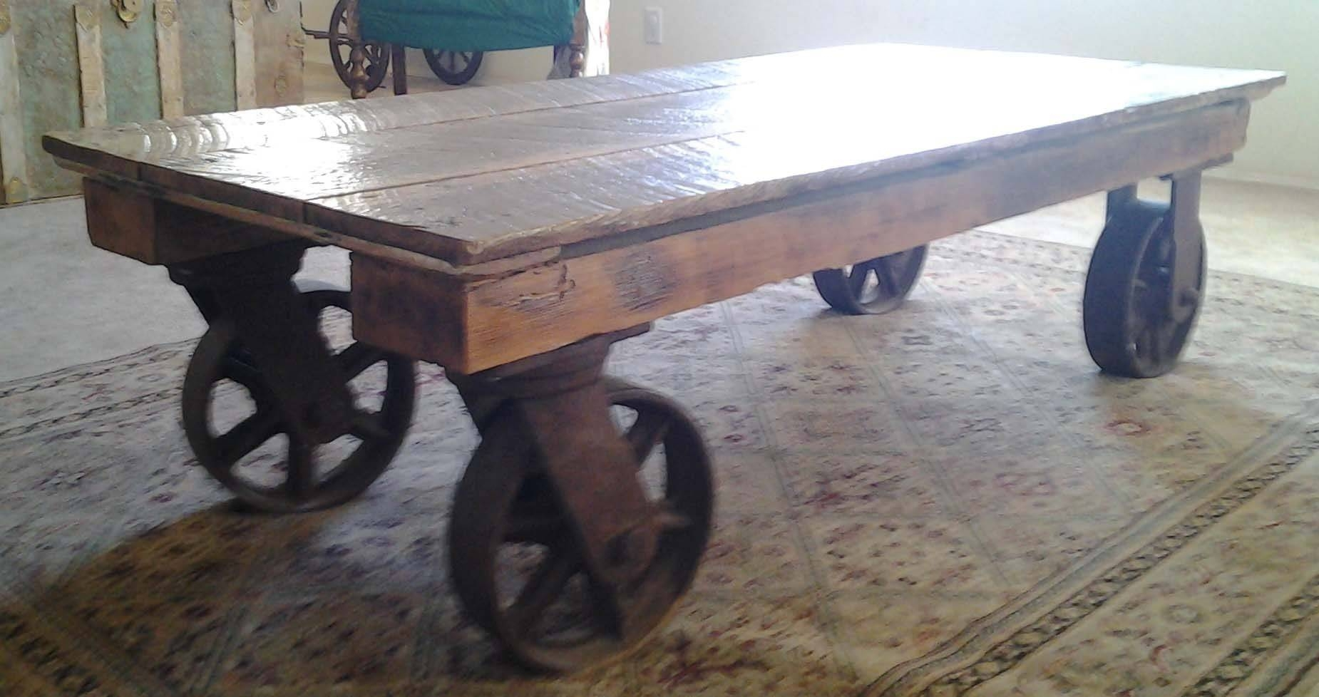 Hand Made Coffee Table With Iron Industrial Wheelsthe Farm At for Coffee Tables With Wheels (Image 24 of 30)