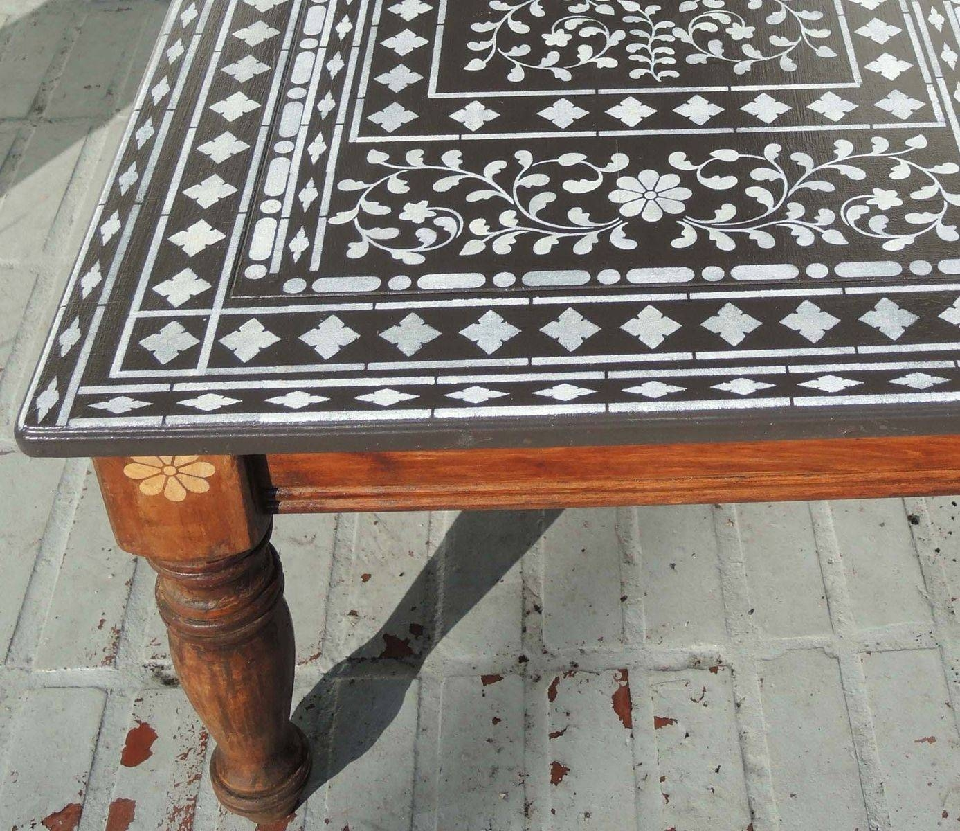 Hand Made Indian Inlay Stencil Coffee Tablealdana Decoative throughout Indian Coffee Tables (Image 19 of 30)