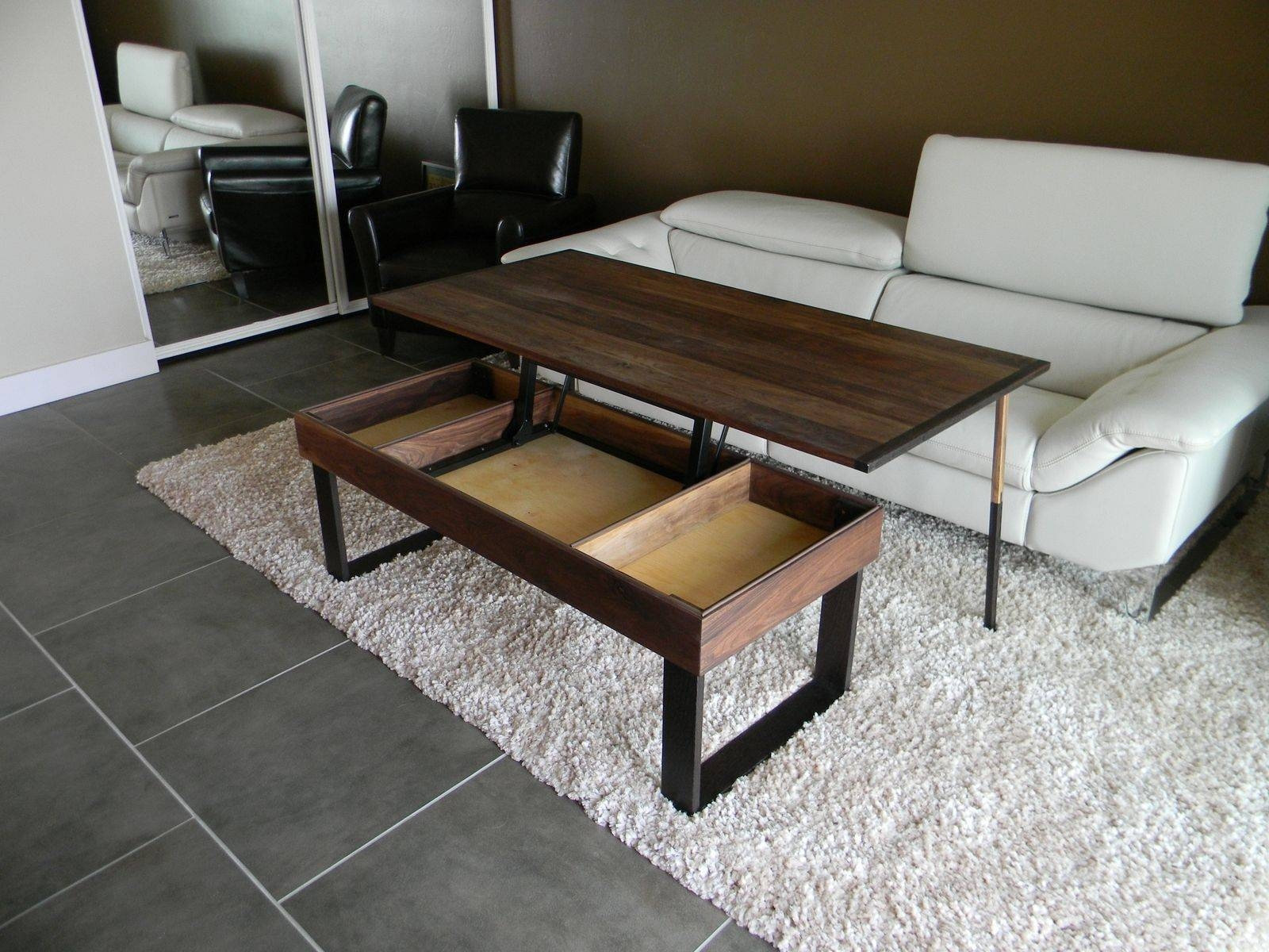 Hand Made Terry's Lift -Top, Pop-Up Walnut And Wenge Transformer with regard to Lift Top Coffee Tables (Image 14 of 30)