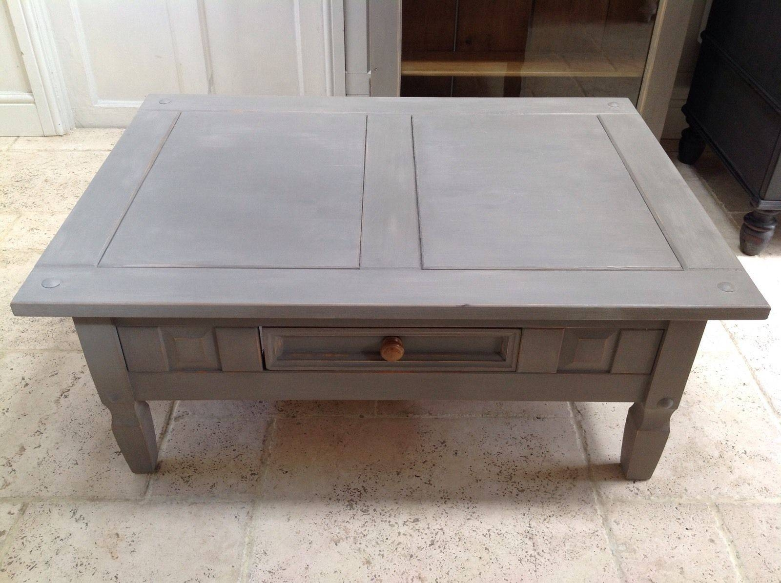 Hand Painted Pine Coffee Table - Annie Sloan French Linen Rectangular in Grey Coffee Tables (Image 20 of 30)