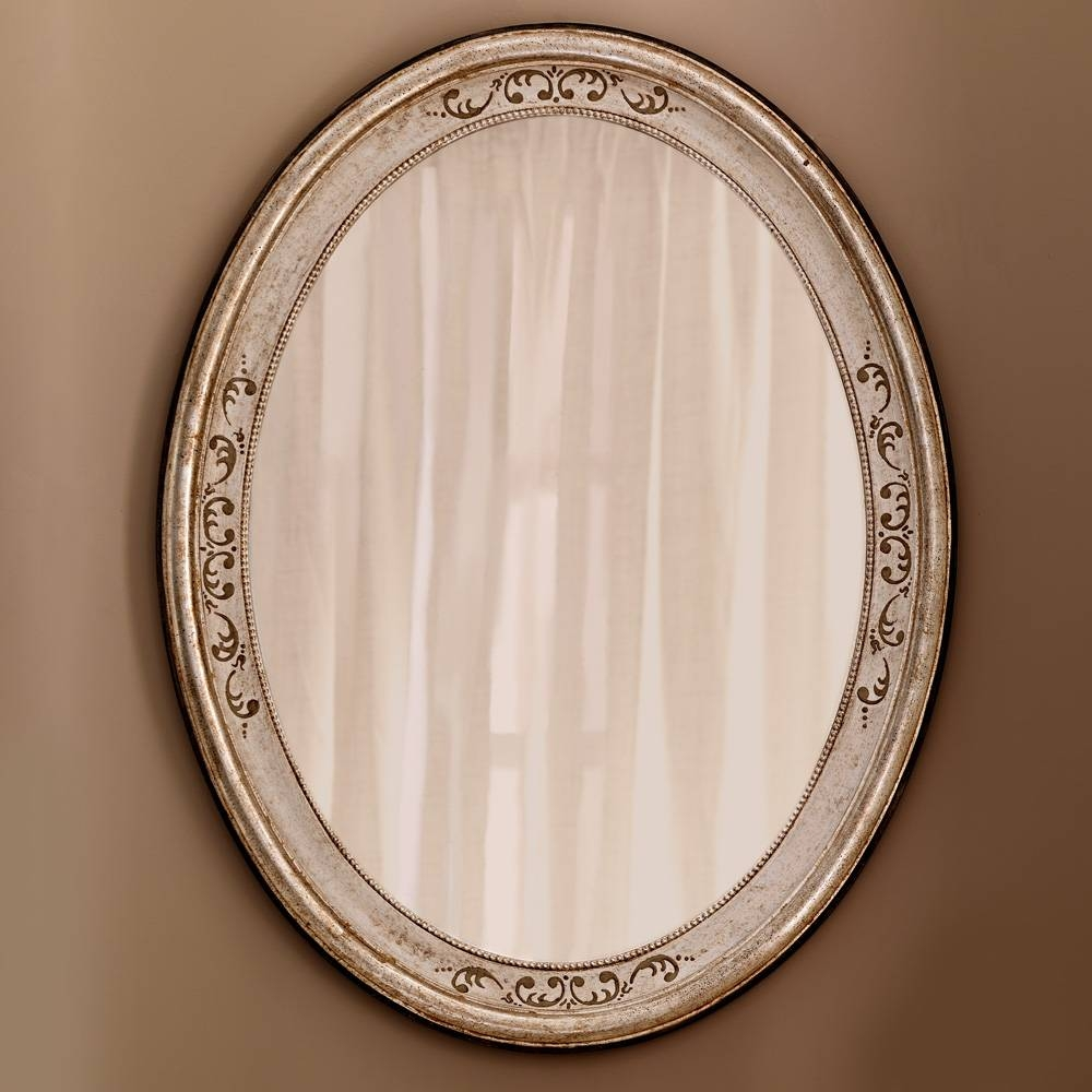 Hand Painted Silver Italian Oval Mirror | Juliettes Interiors Pertaining To Silver Oval Mirrors (View 11 of 25)
