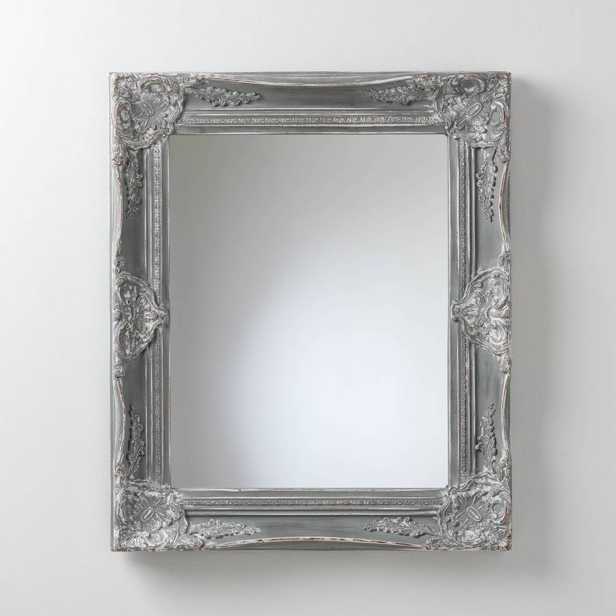 Hand Painted Vintage Grey Mirrorhand Crafted Mirrors Regarding Black Shabby Chic Mirrors (View 9 of 25)