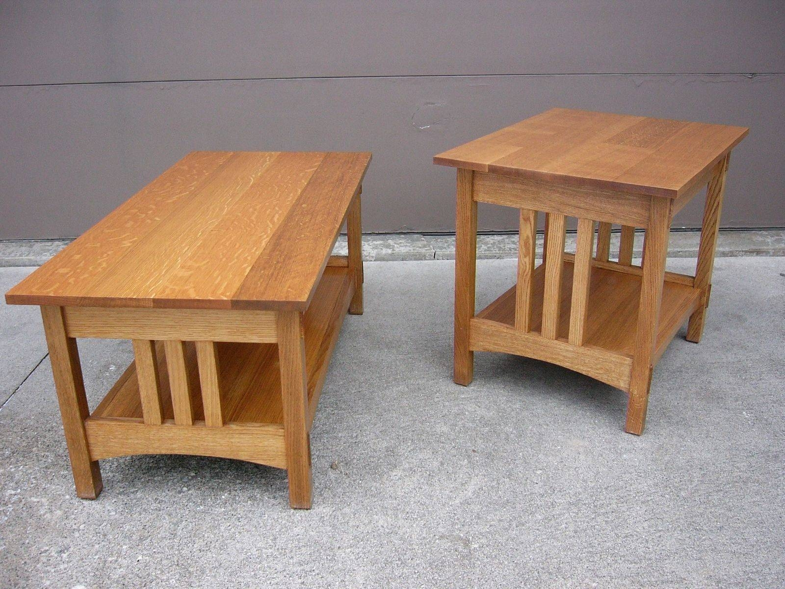 Handmade Quartersawn Oak Mission Style Coffee Table And End Table with Oak Coffee Table Sets (Image 14 of 30)