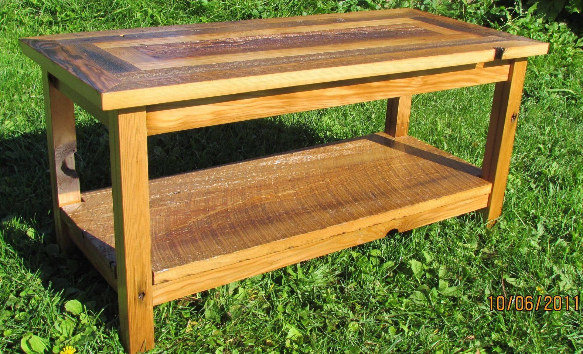 Handmade Reclaimed Barnwood Coffee Table With Matching End Tables in Rustic Barnwood Coffee Tables (Image 17 of 30)