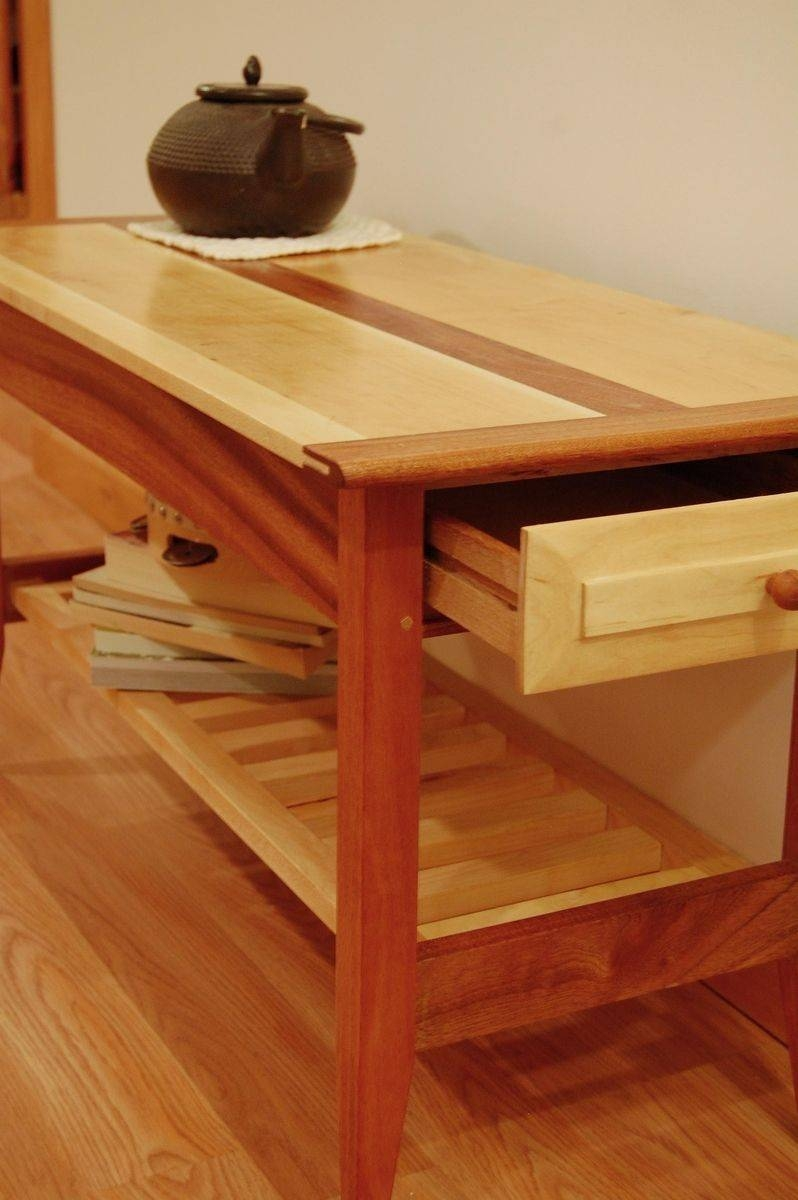 Handmade Two Drawer Mahogany And Maple Coffee Table With Shelf with regard to Mahogany Coffee Tables (Image 18 of 30)