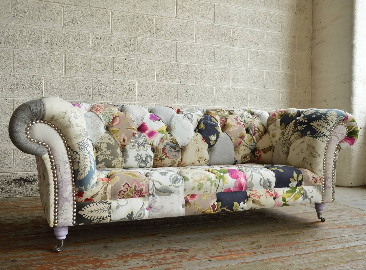 Handmade Vintage Grace Floral Patchwork Chesterfield Sofa | Abode regarding Chintz Fabric Sofas (Image 21 of 30)