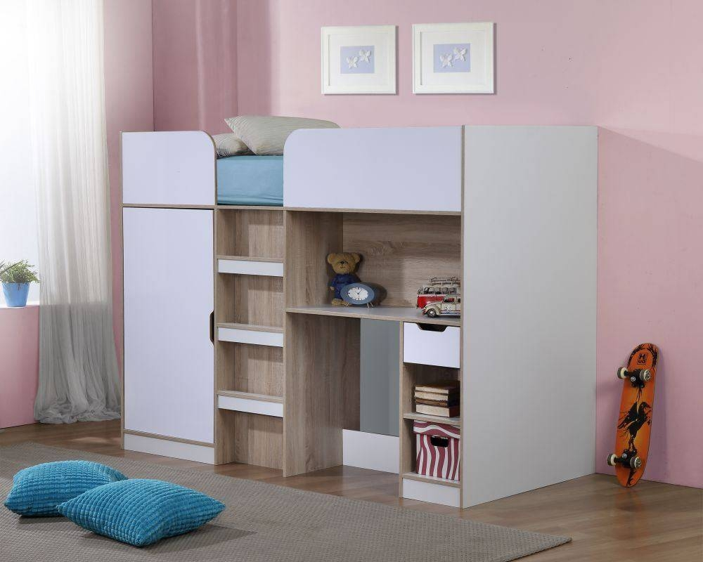 Happy Beds Paddington 3Ft High Sleeper Bunk Storage Bed Wardrobe in High Sleeper With Desk And Sofa Bed (Image 6 of 30)