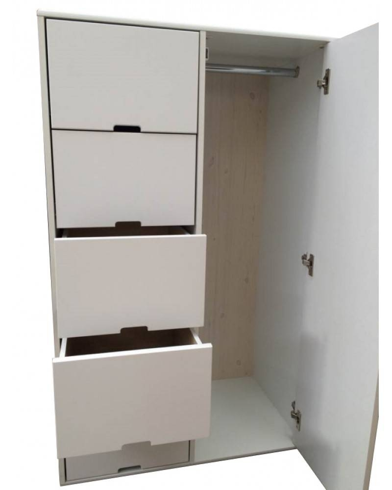 Harmony White Drawers W/ A Single Wardrobe regarding Single White Wardrobes With Drawers (Image 4 of 15)