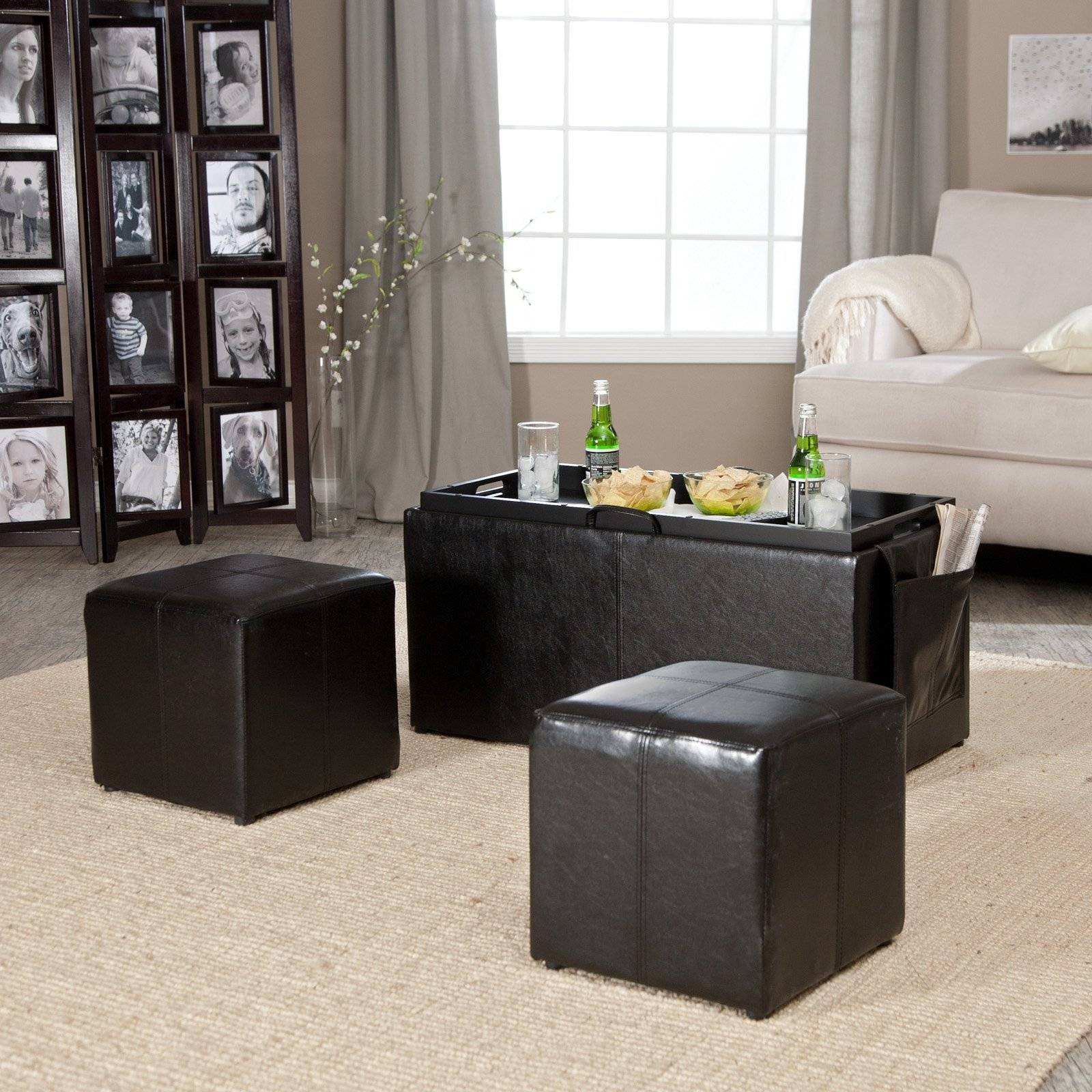 Hartley Coffee Table Storage Ottoman With Tray – Side Ottomans Inside Brown Leather Ottoman Coffee Tables (View 30 of 30)