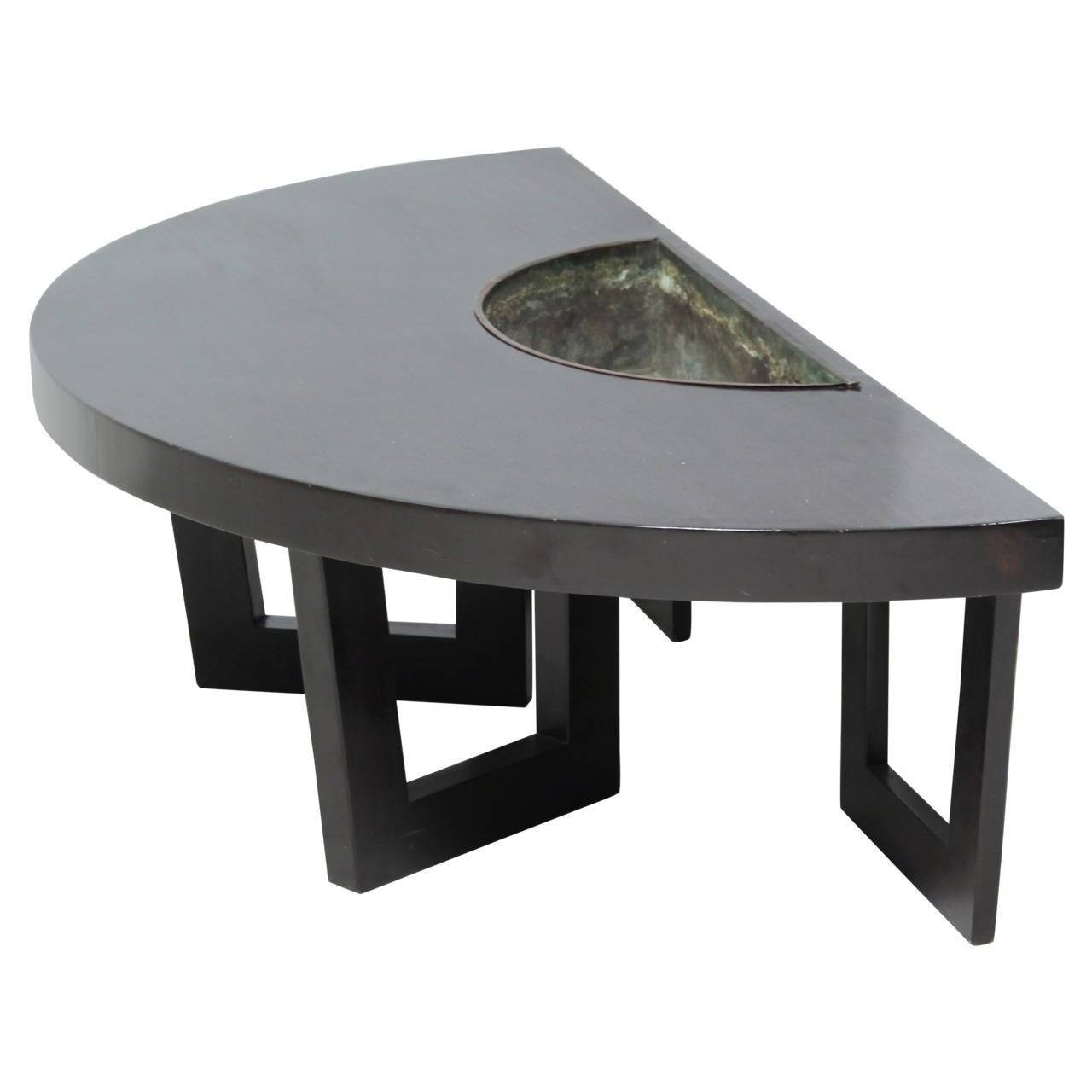 Harvey Probber Semi Circle Coffee Table With Inserted Copper pertaining to Circle Coffee Tables (Image 19 of 30)