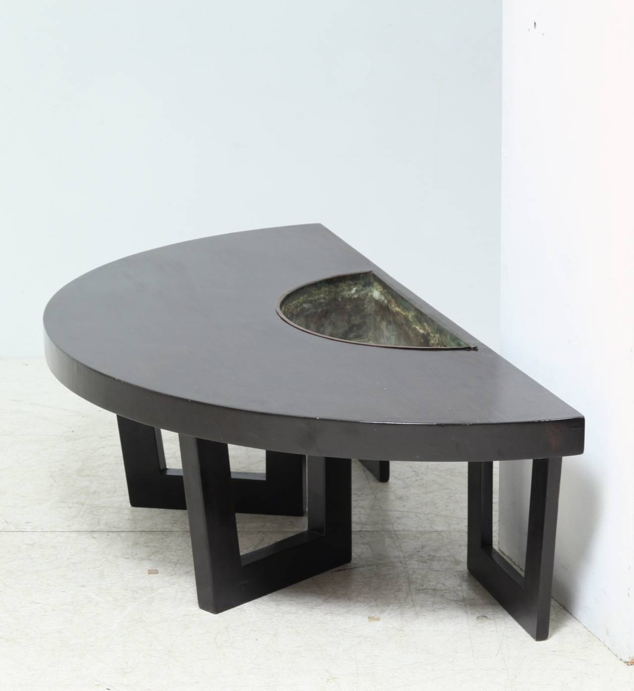 Harvey Probber Semi Circle Coffee Table With Inserted Copper With Regard To Circular Coffee Tables (View 23 of 30)