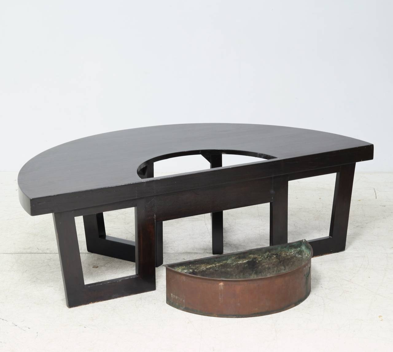 Harvey Probber Semi Circle Coffee Table With Inserted Copper within Circle Coffee Tables (Image 20 of 30)