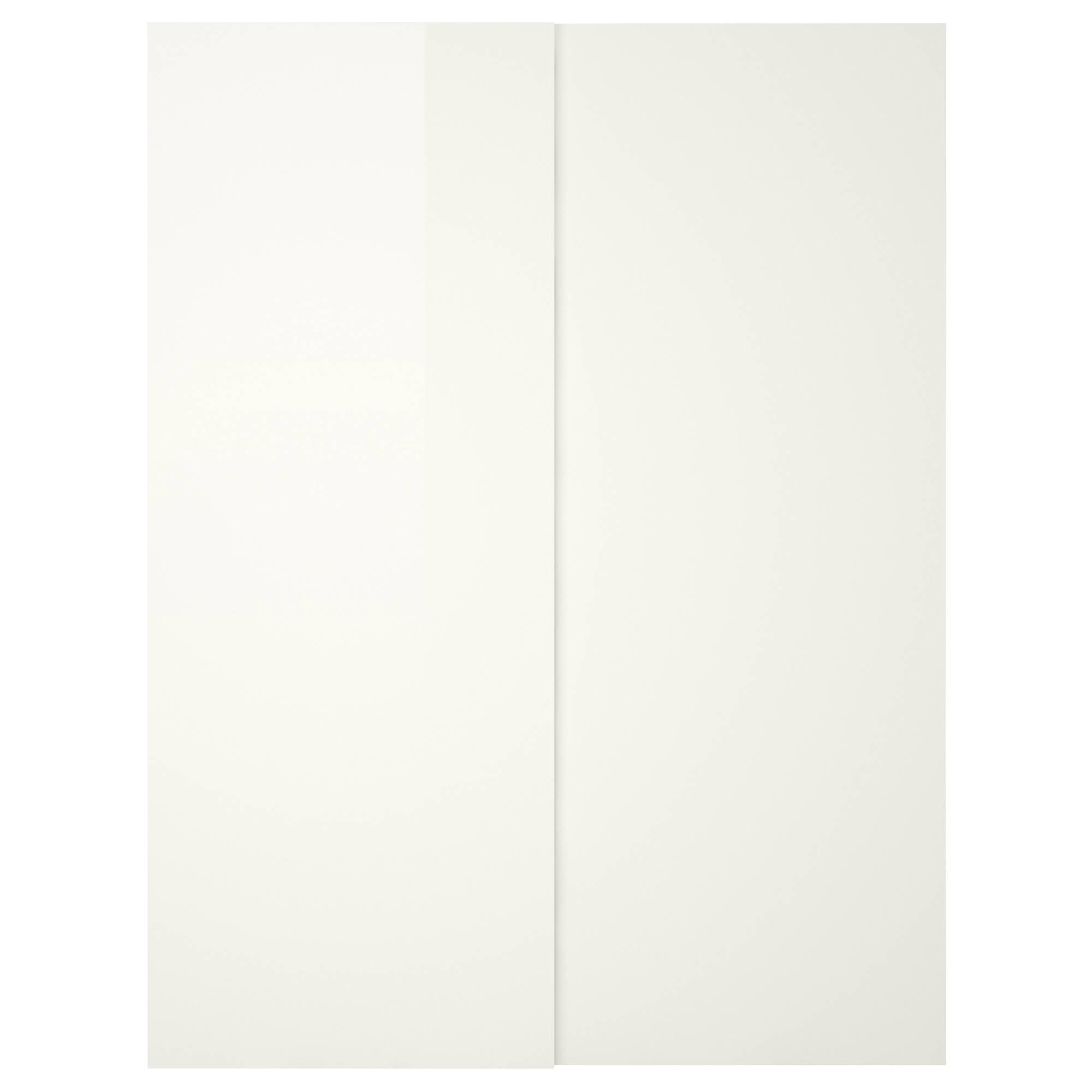 Hasvik Pair Of Sliding Doors High-Gloss/white 150X201 Cm - Ikea within White Gloss Sliding Wardrobes (Image 3 of 15)