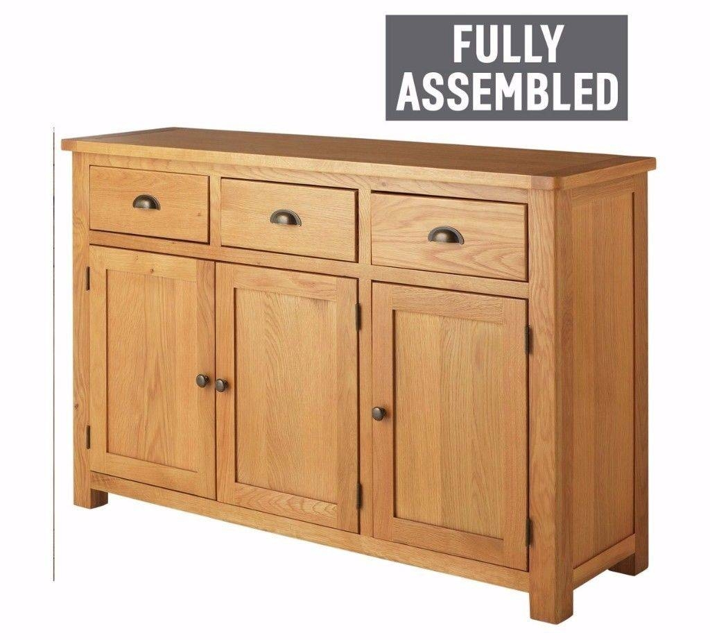 Heart Of House Kent Oak & Oak Veneer 3Dr 3Drw Sideboard | In within Fully Assembled Sideboards (Image 17 of 30)
