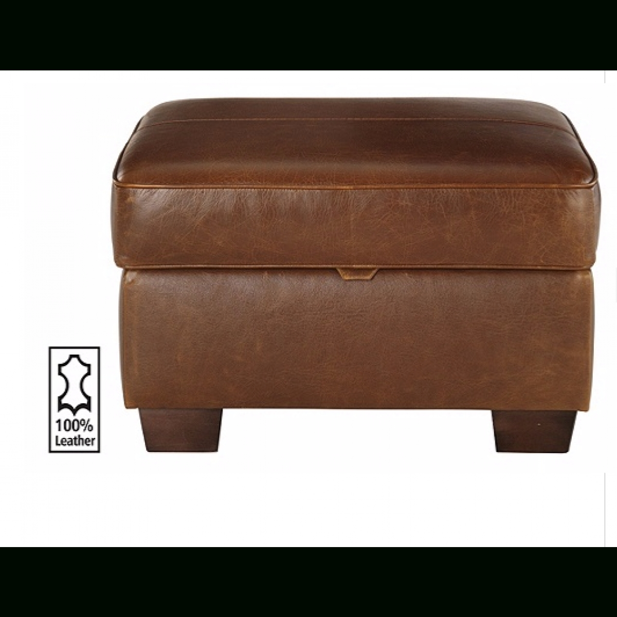 Heart Of House Salisbury Leather Footstool - Tan. - Furnico Village throughout Leather Footstools (Image 13 of 30)