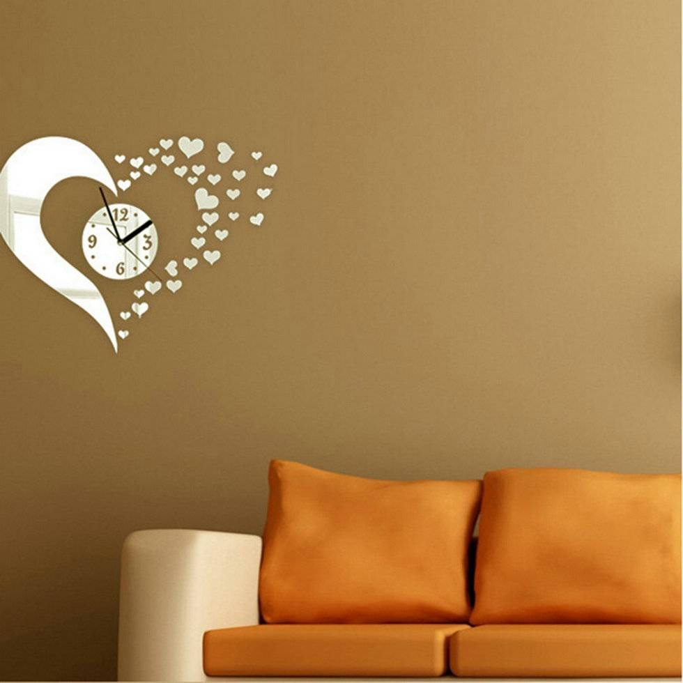 Heart-Shaped Wall Clock Mirror Stickers Wall Decal Modern Home throughout Heart Shaped Mirrors for Wall (Image 10 of 25)