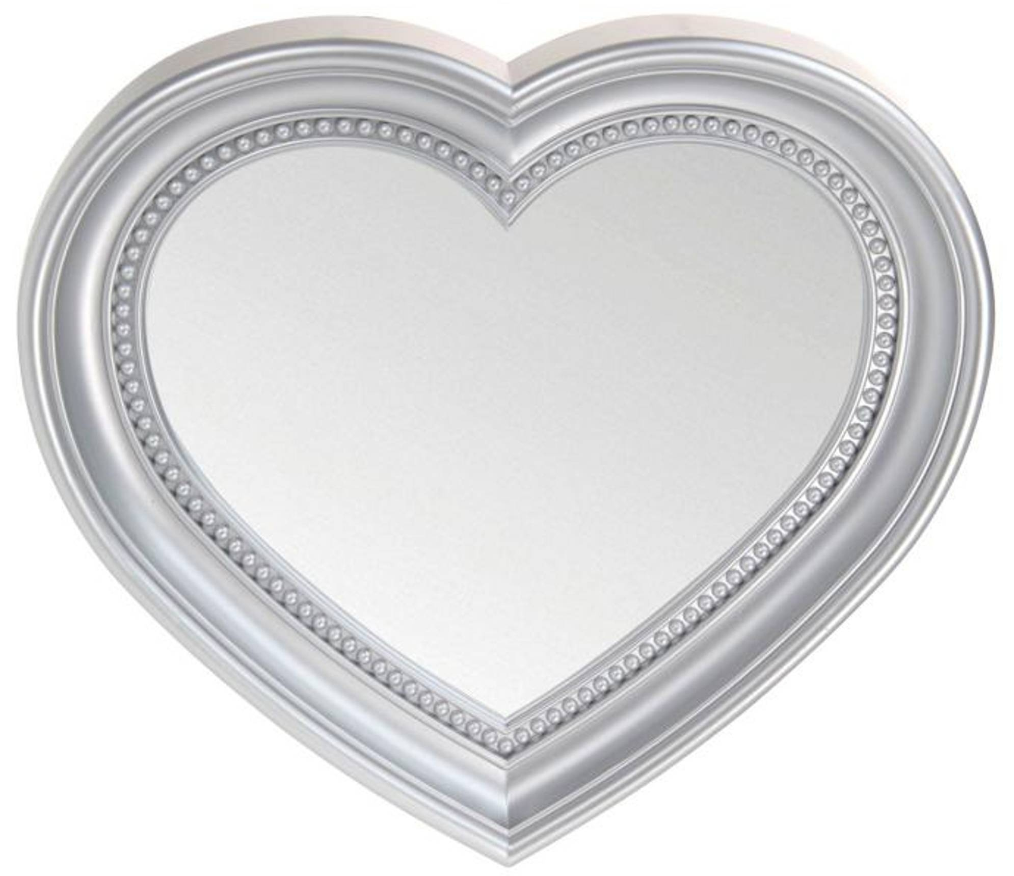Heart Shaped Wall Hanging Mirror, Silver 45Cm | Blendboutique Inside Heart Wall Mirrors (View 12 of 25)